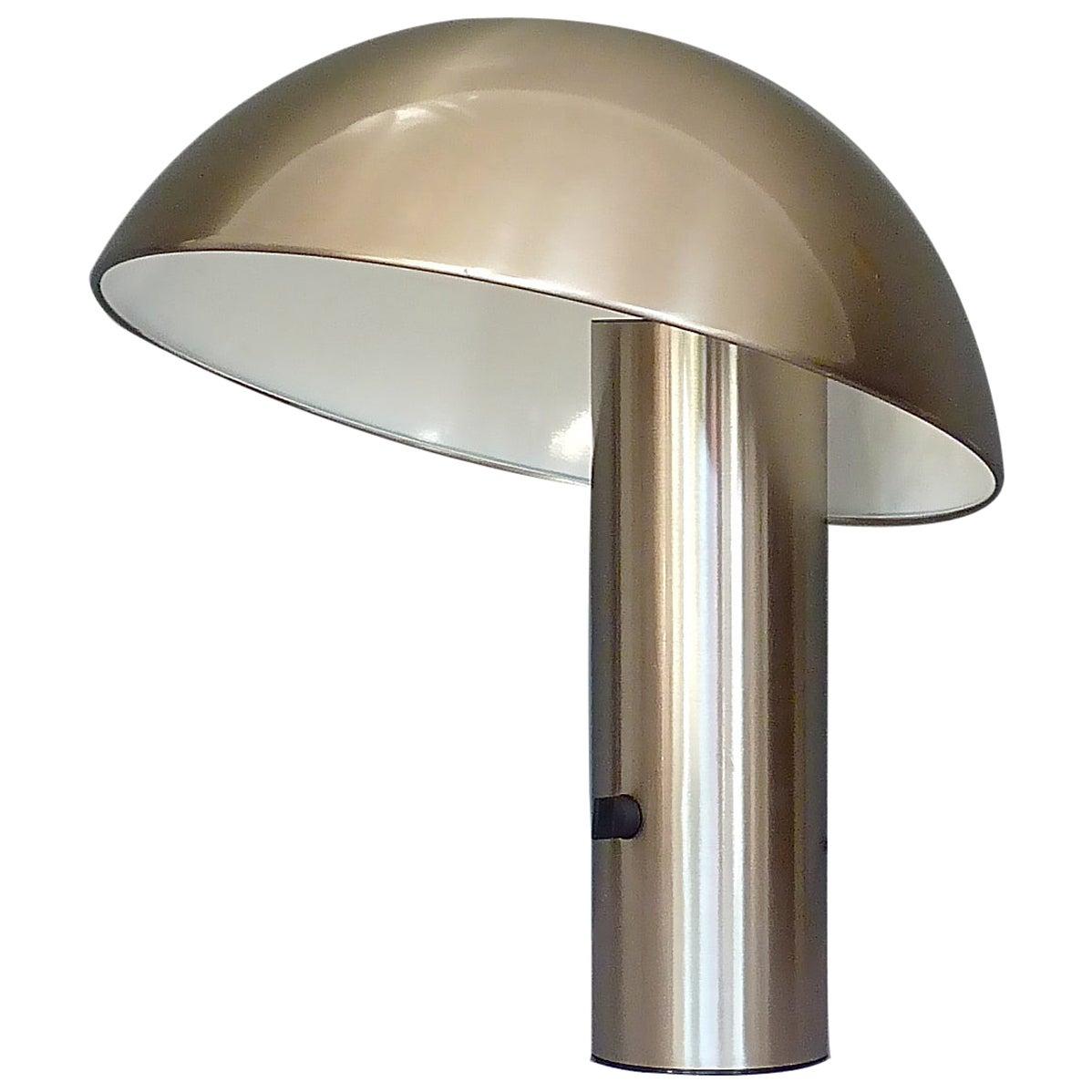 Signed Valenti Vaga Table Lamp by Franco Mirenzi Brushed Steel, Italian, 1970s