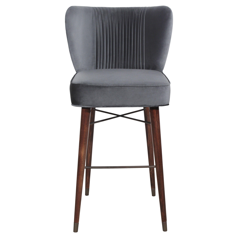 Mid-Century Modern Visconti Bar Chair Walnut Wood Cotton Velvet