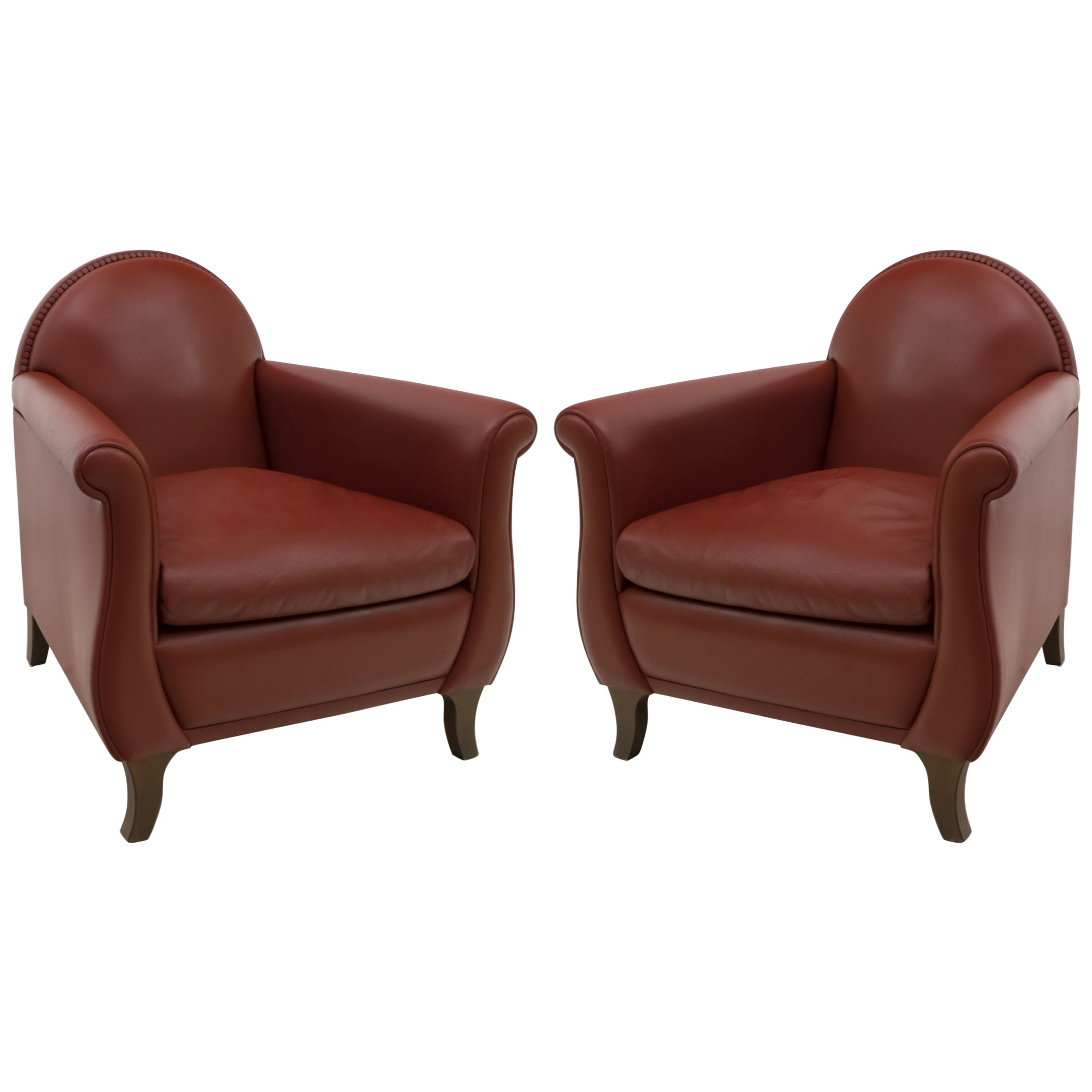 "Pair of Renzo Frau Italian Leather Armchairs ""Lyra"" by Poltrona Frau"