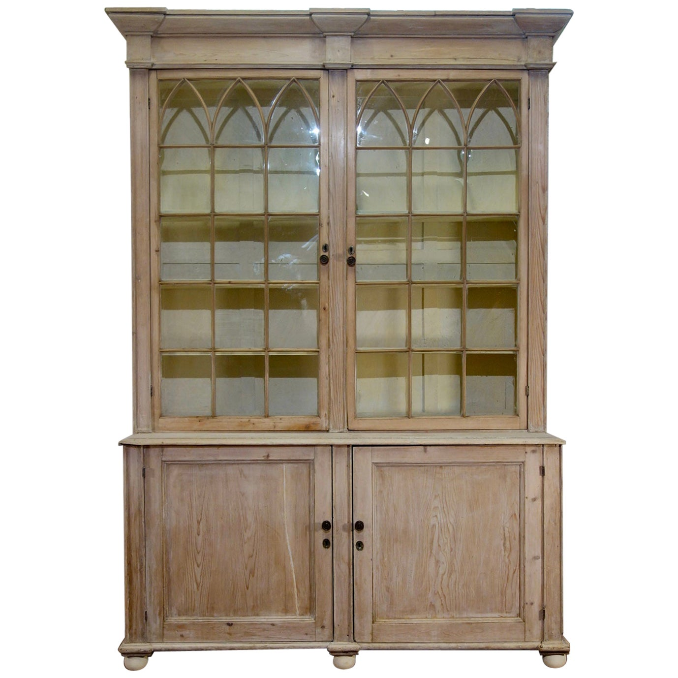 19th Century Gothic Bleached Pine Cabinet, Bookcase