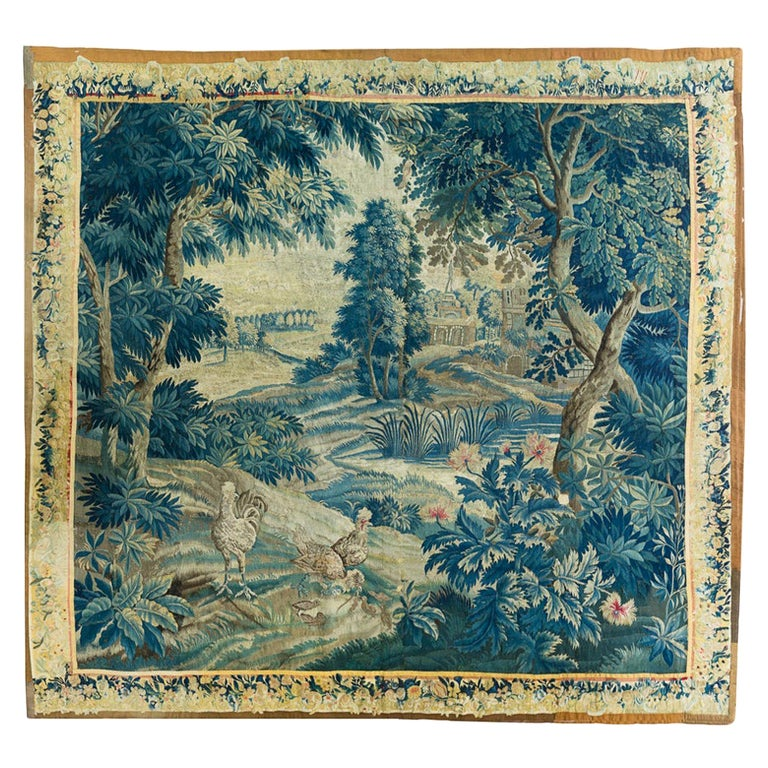 Antique 18th Square Century Flemish Verdure Green Landscape Tapestry with Birds For Sale