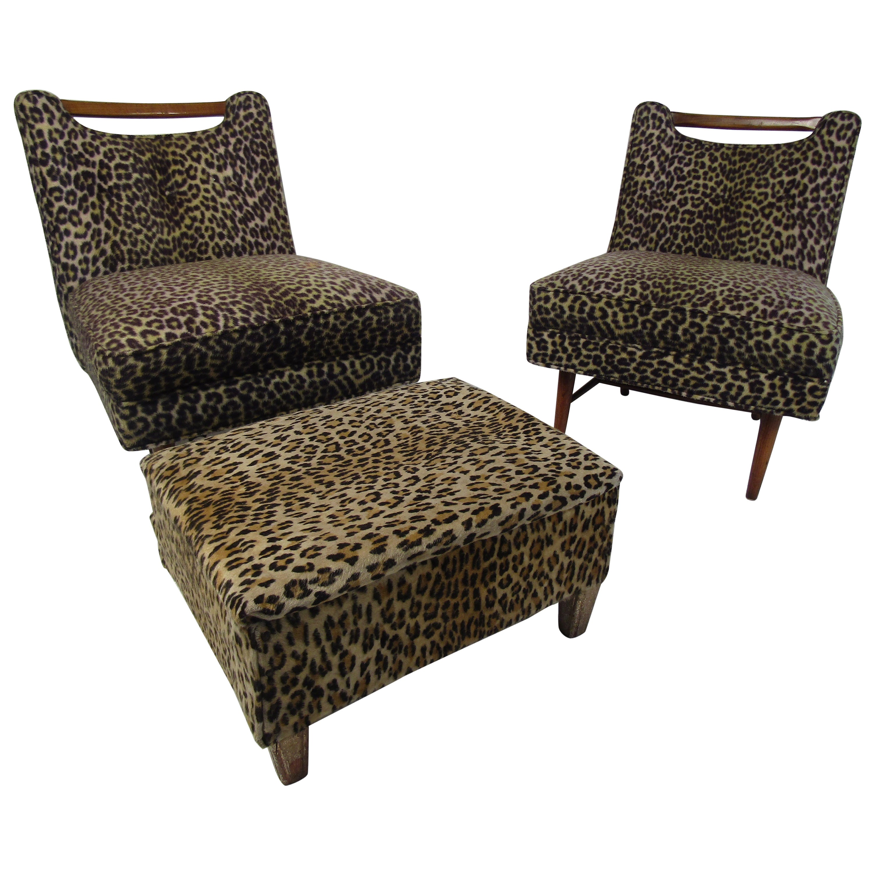 Pair of Midcentury Leopard Print Lounge Chairs with Ottoman