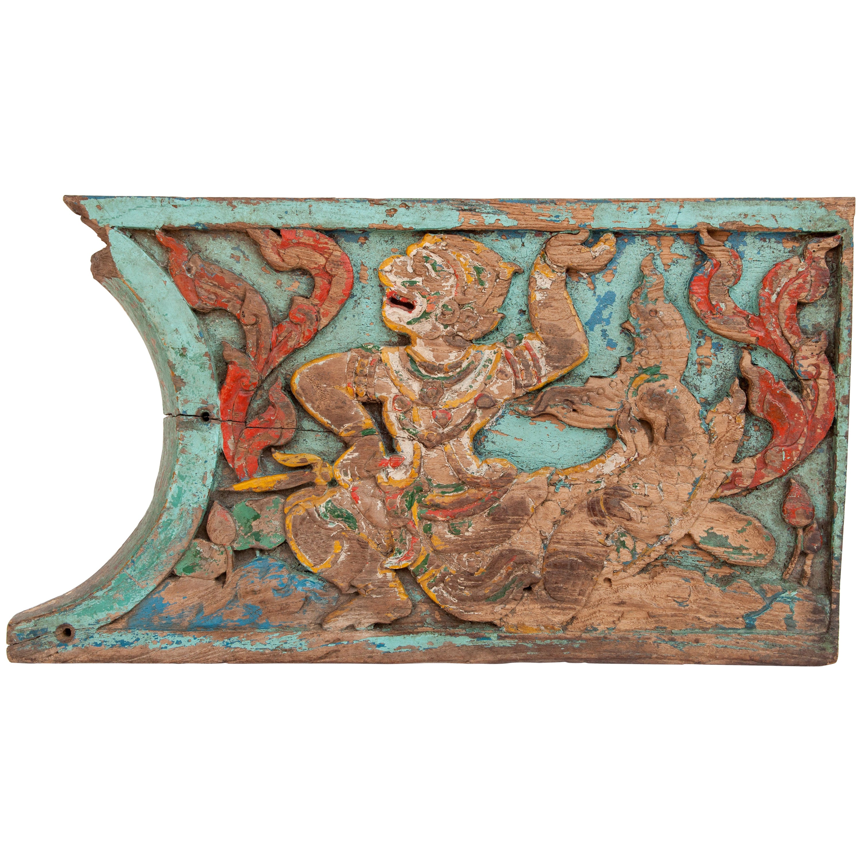Vintage Hand Carved Panel from Thailand, Hanuman Motif, Mid-20th Century