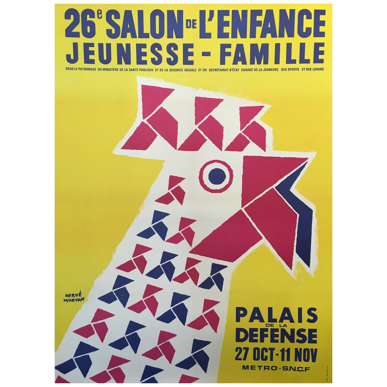 Herve Morvan Original Vintage Poster, 'Salon De L'enfance' Yellow Rooster