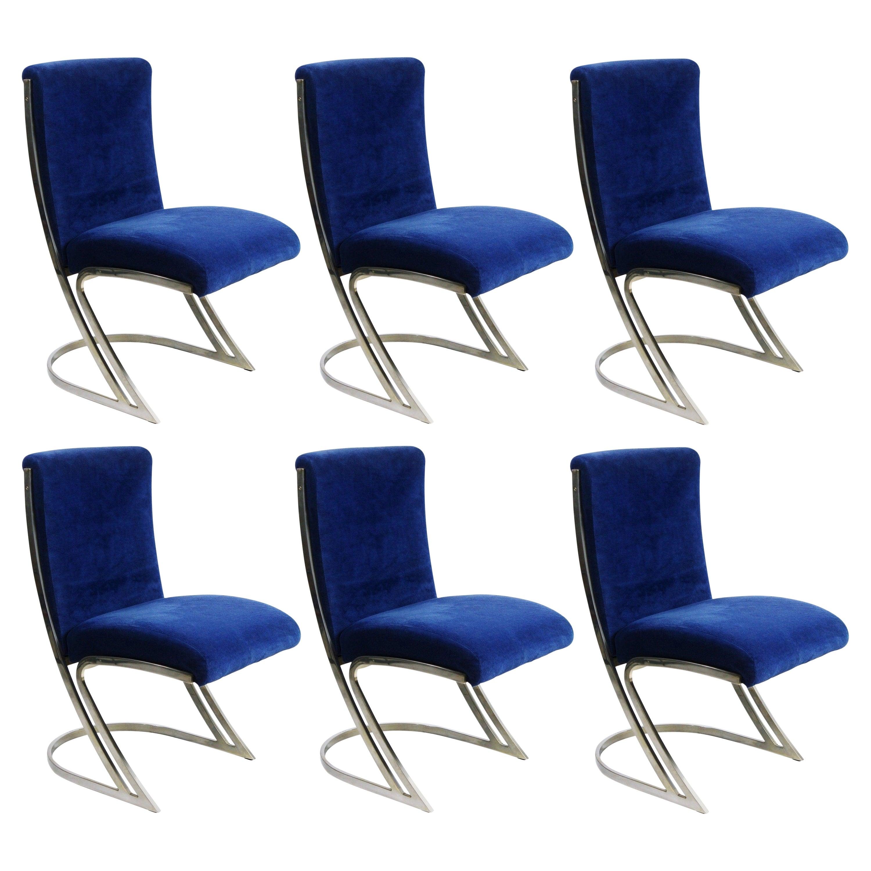 Set of Six Pierre Cardin Chrome Dining Chairs in Blue Velvet