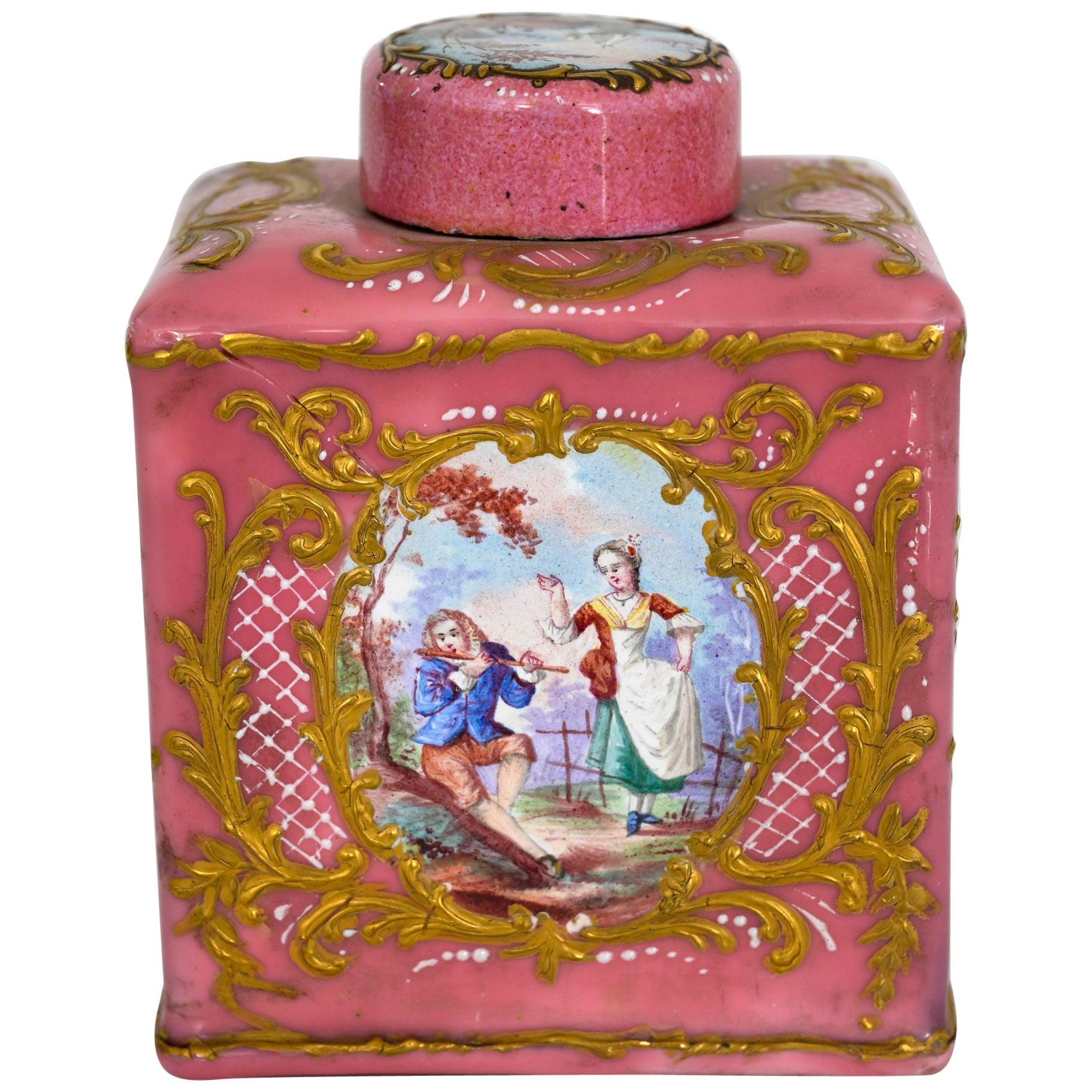 Enamel Tea Caddy Vienna 18th Century with Landscape