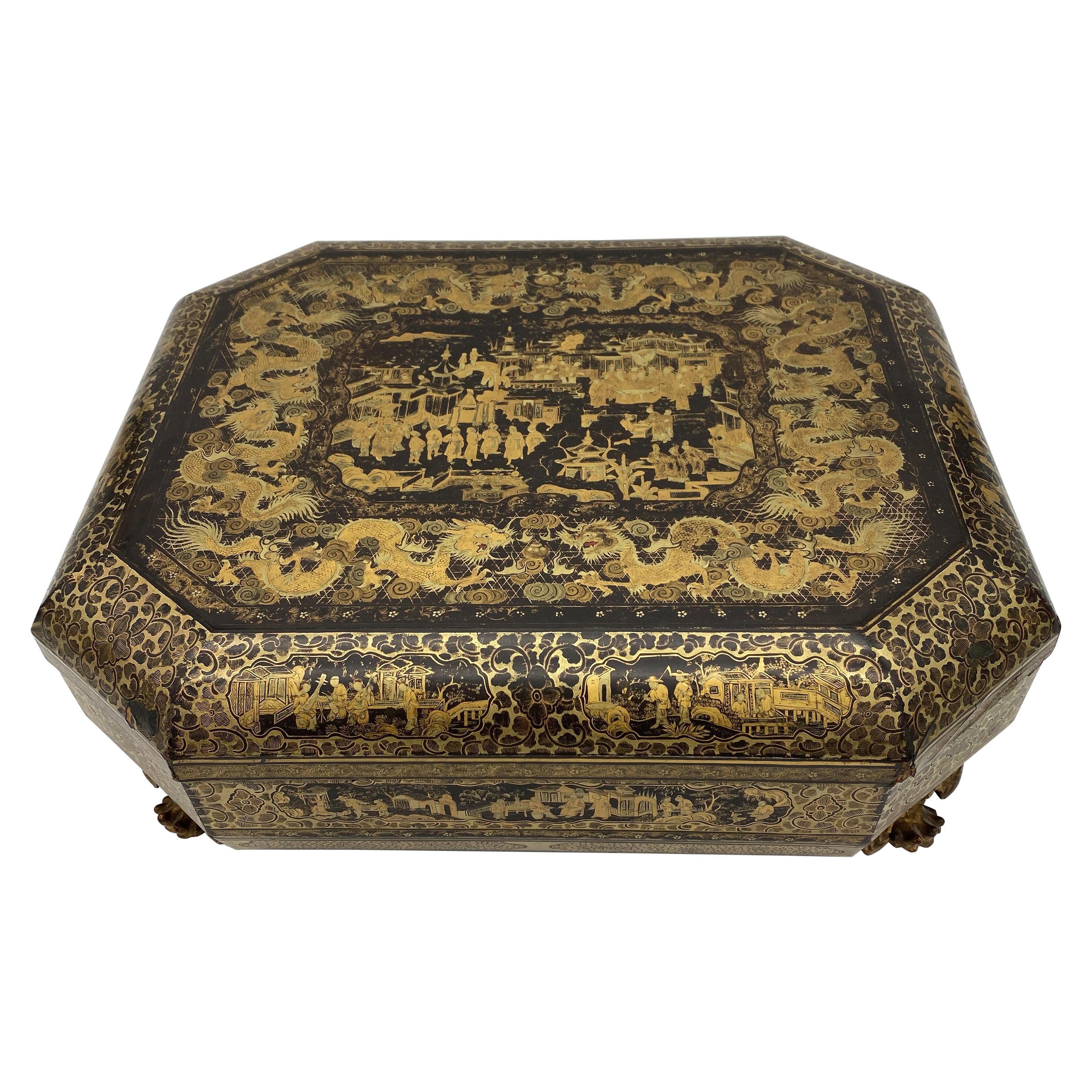 Antique 19th Century Export Chinese Lacquer Gaming Box