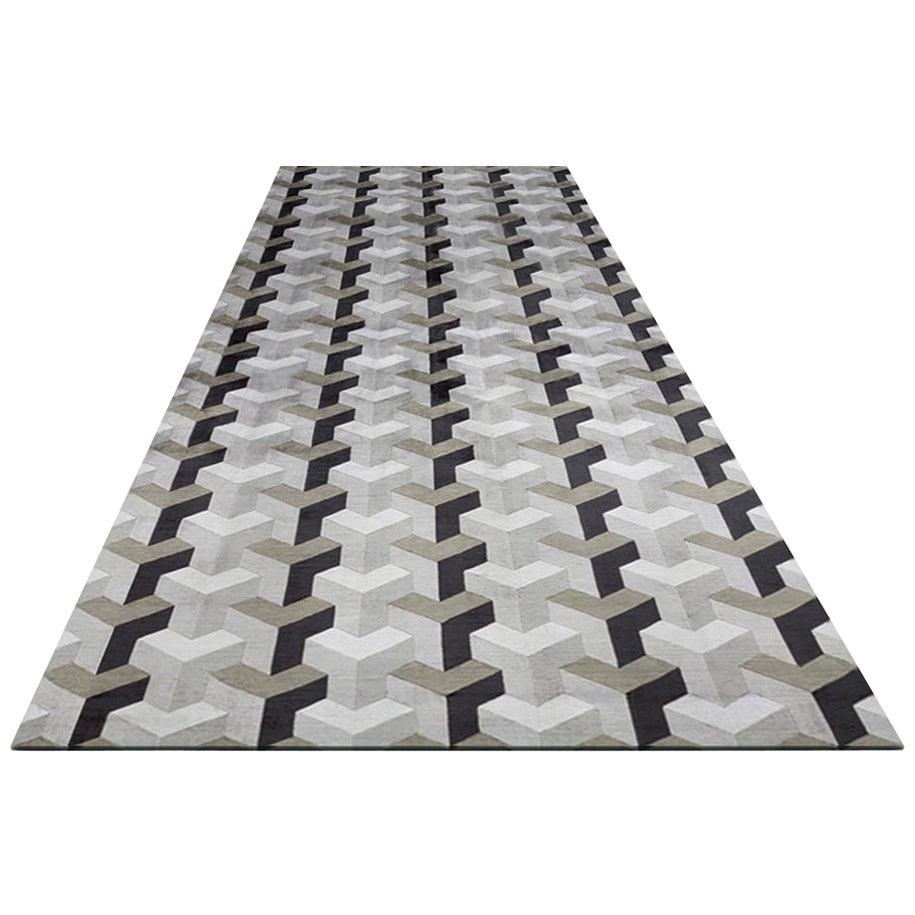 Large Verner Panton Designed 3D Effect Ypsilon Handmade Silk Rug