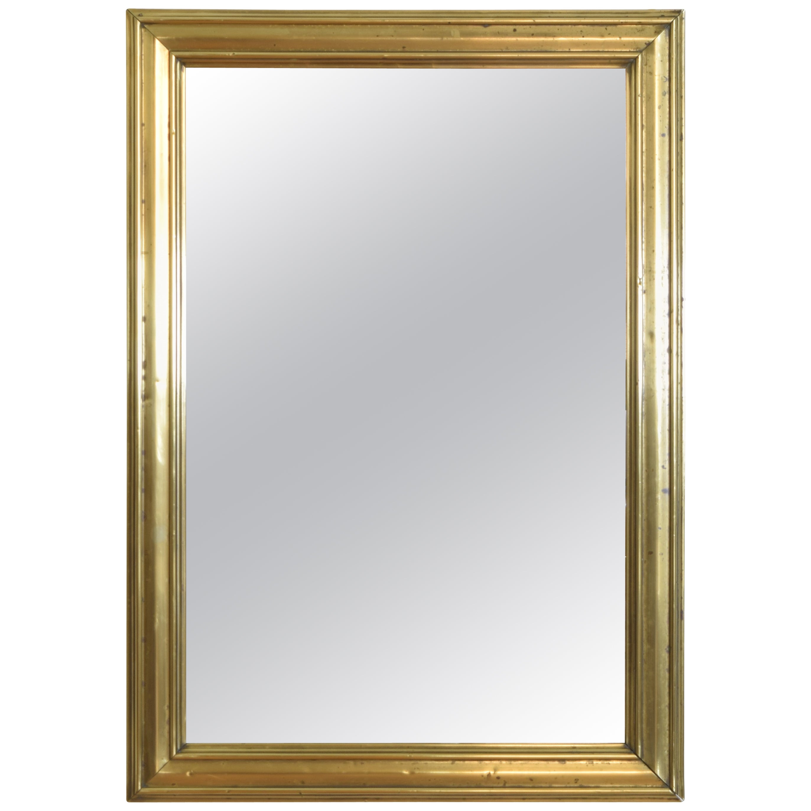 French Louis Philippe Brass Mounted Bistro Mirror, Mid-19th Century