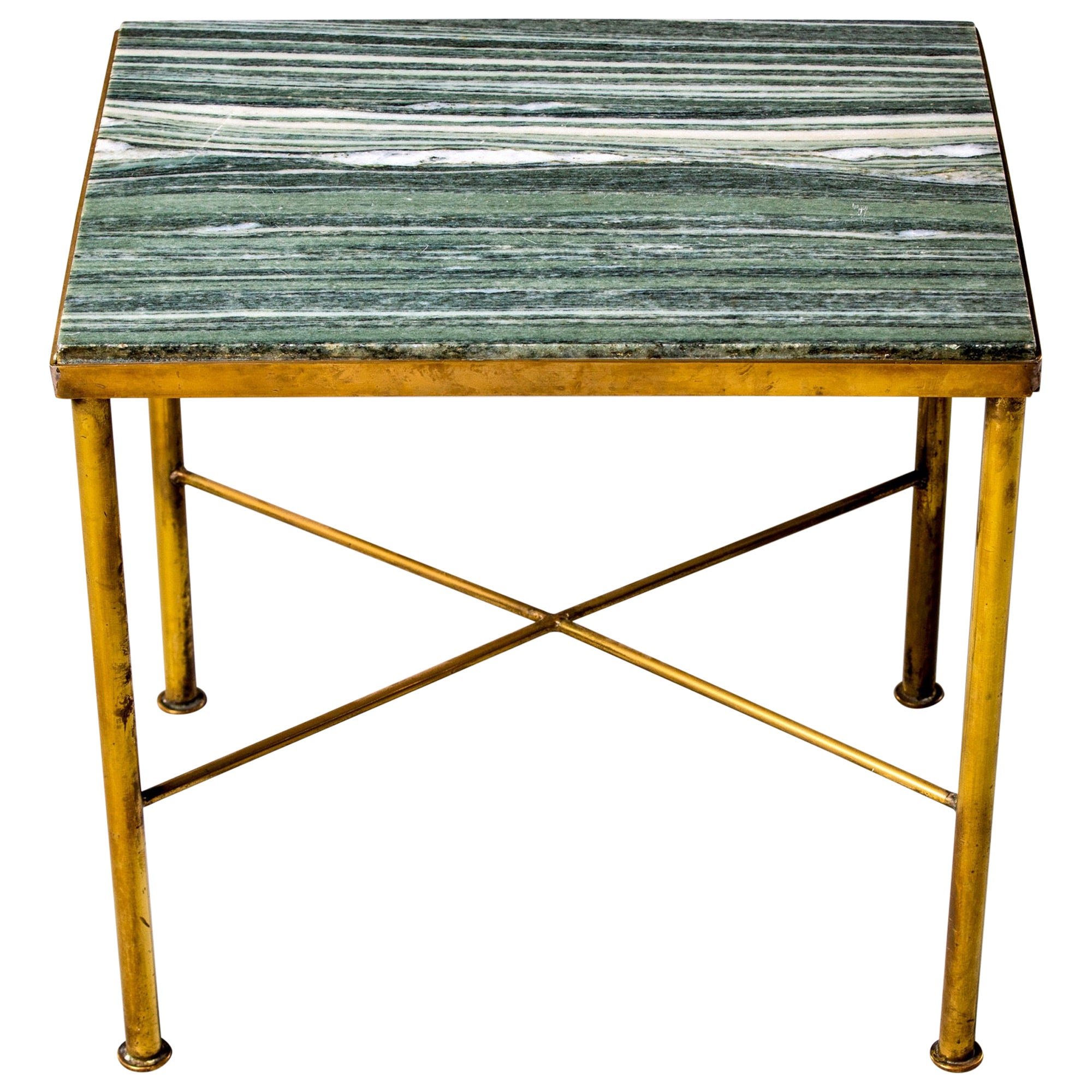 Midcentury Green Marble and Brass Side Table
