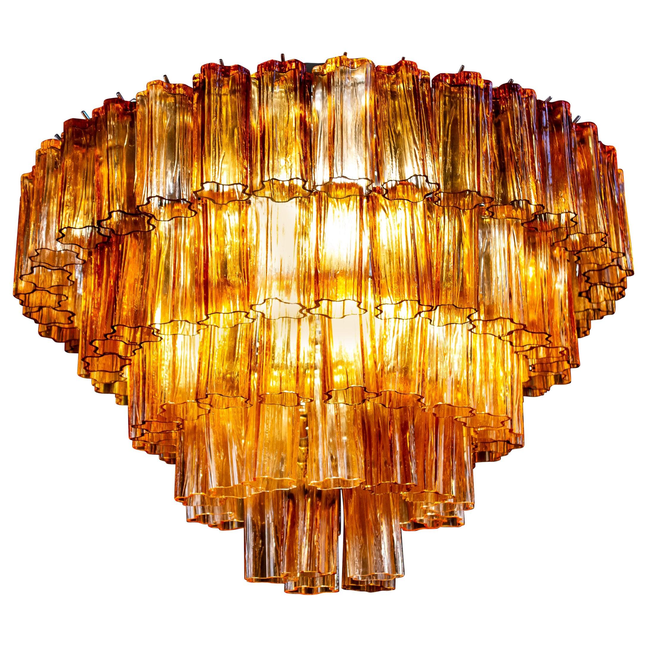 Venini Modern Gold Amber Color Murano Glass Chandelier or Flushmount, 1970