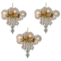 Two Brass Midcentury Chandeliers Produced by Fa. Preciosa, 1960s