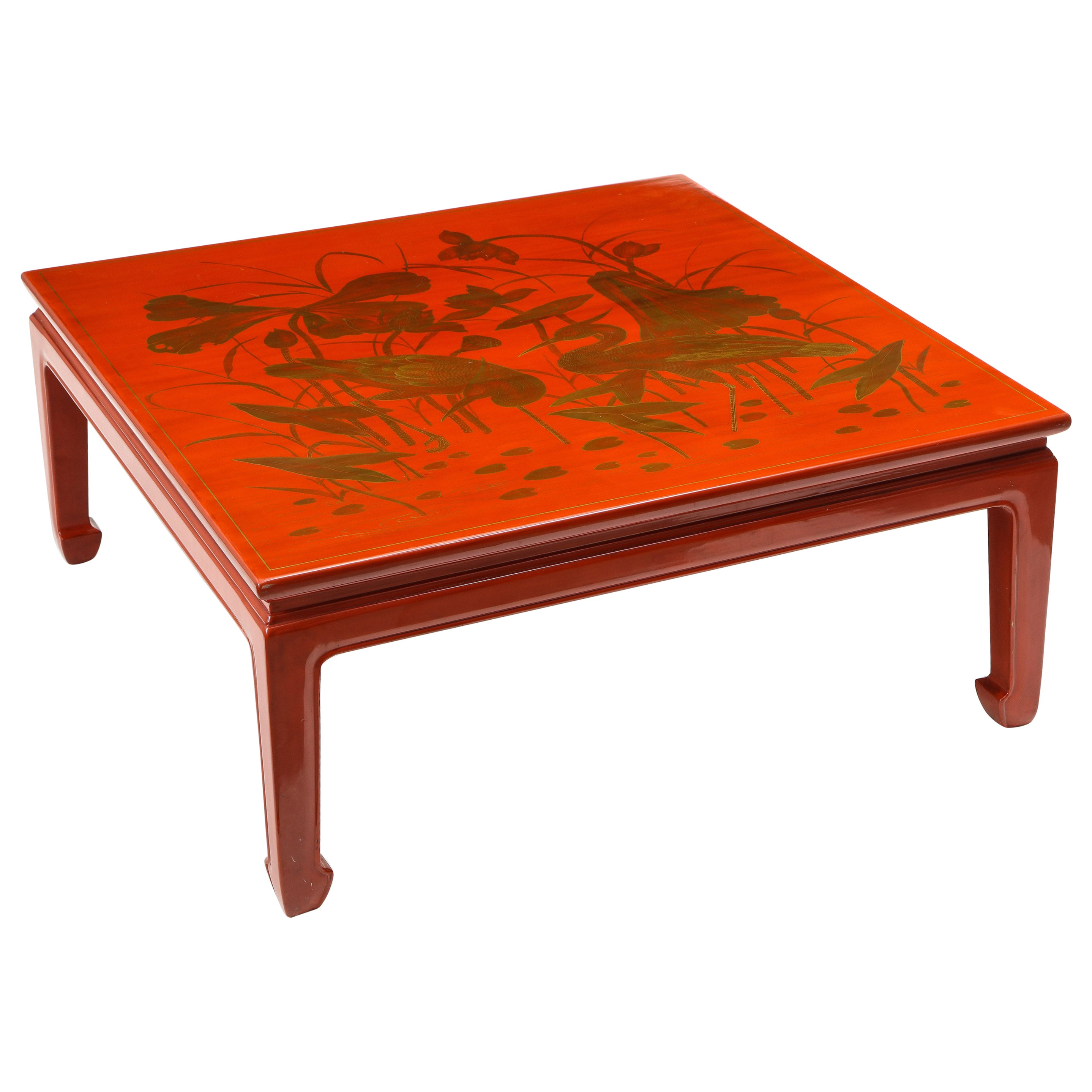 Red Lacquer and Gilt Chinoiserie Square Coffee Table