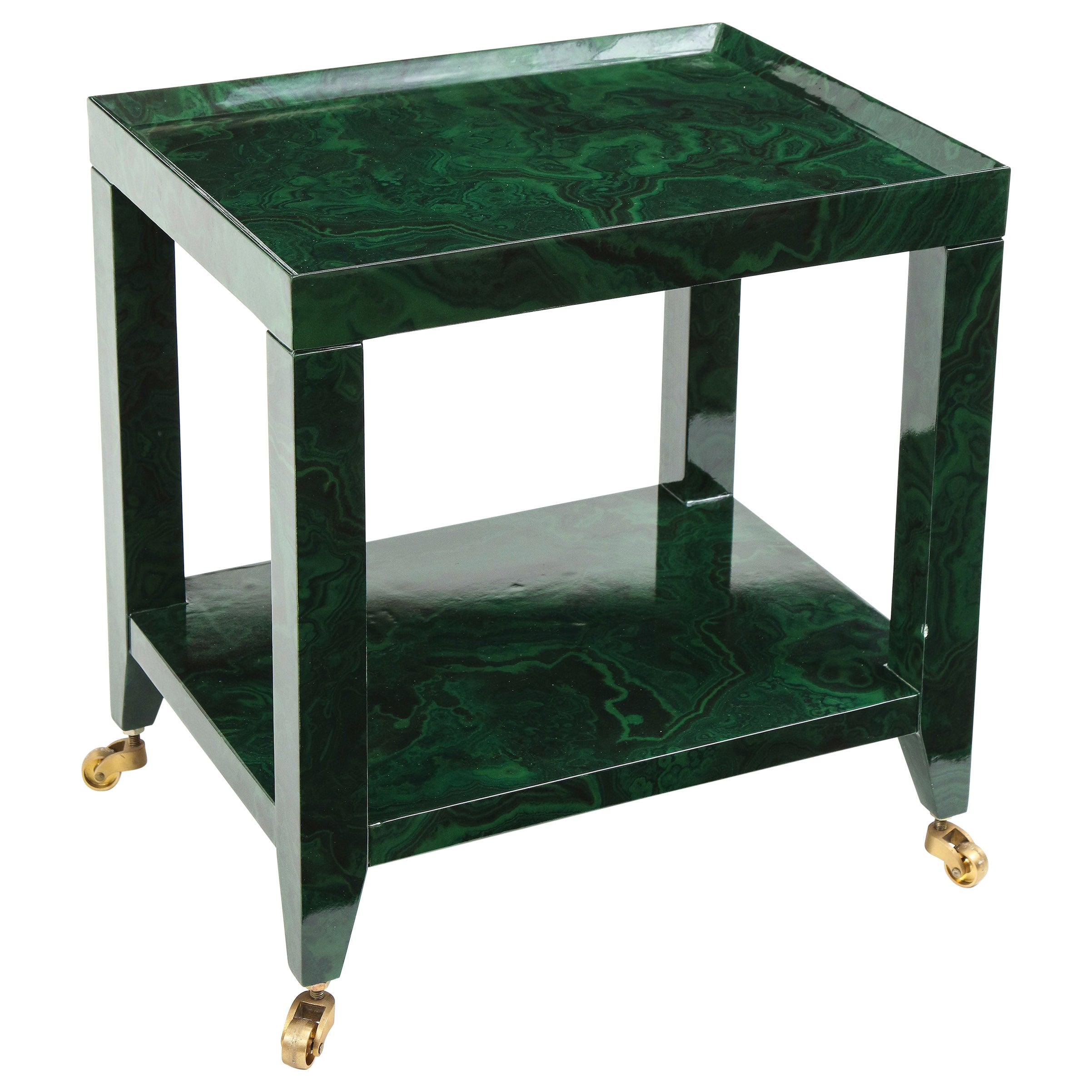 Karl Springer Faux Malachite Telephone Table