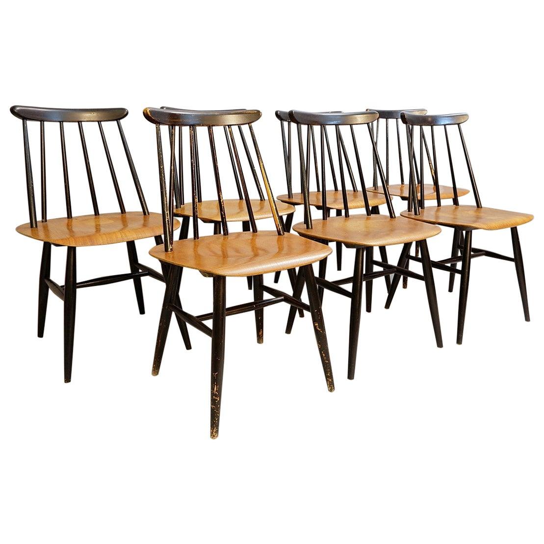 Set of 7 'Fanett' Dining Chairs by Ilmari Tapiovaara for Edsby Verken