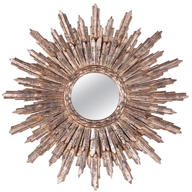 French Silver Leaf Carved Sunburst Mirror