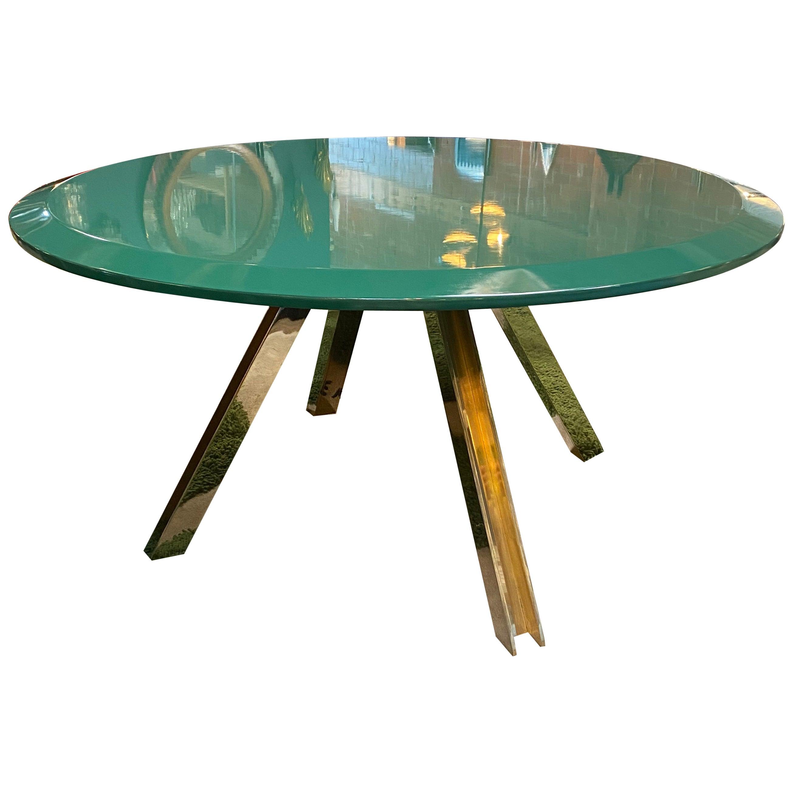 Romeo Rega Attribute Brass Round Green Top Centre Table, Italy, 1970s