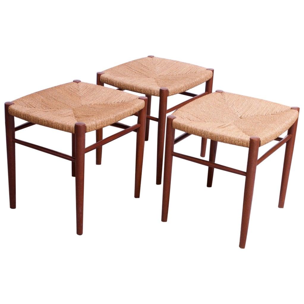 Set of Three Danish Modern Low Stools in Teak and Rush