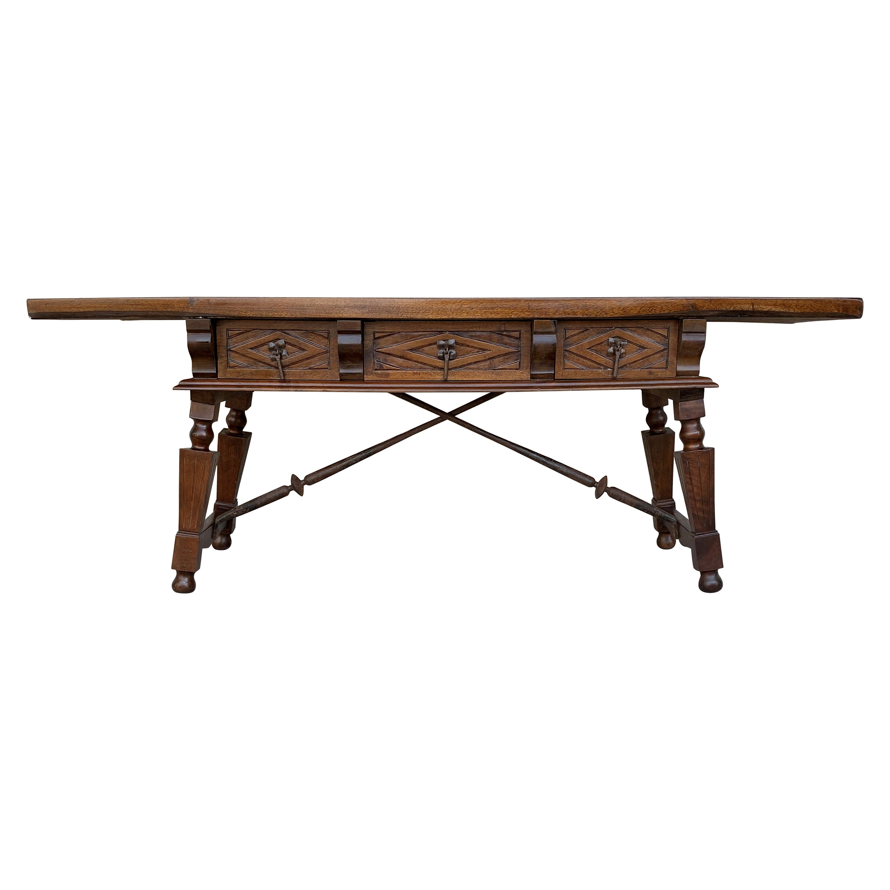 Spanish Bench or Low Console Table with Carved Drawers and Iron Stretcher