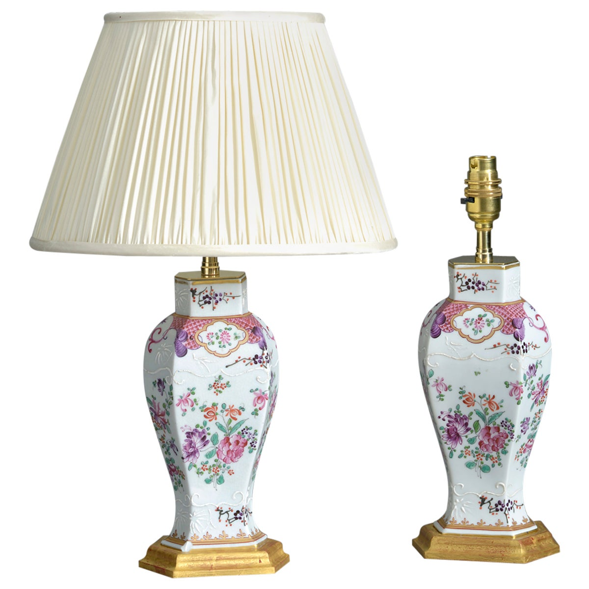 Pair of 19th Century Samson Famille Rose Porcelain Vase Lamps