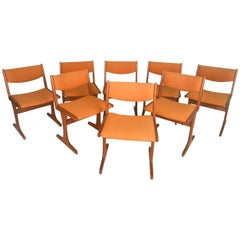 Set of Eight Dining Chairs in Scandinavian Teak