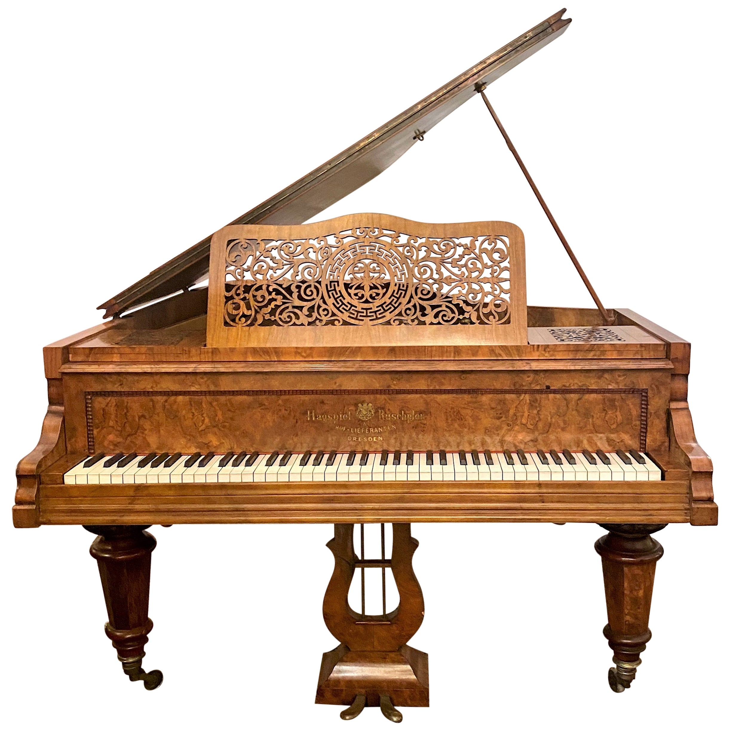 Antique Burled Walnut Parlor Grand Piano Made by Hagspiel & Ruschpler circa 1875