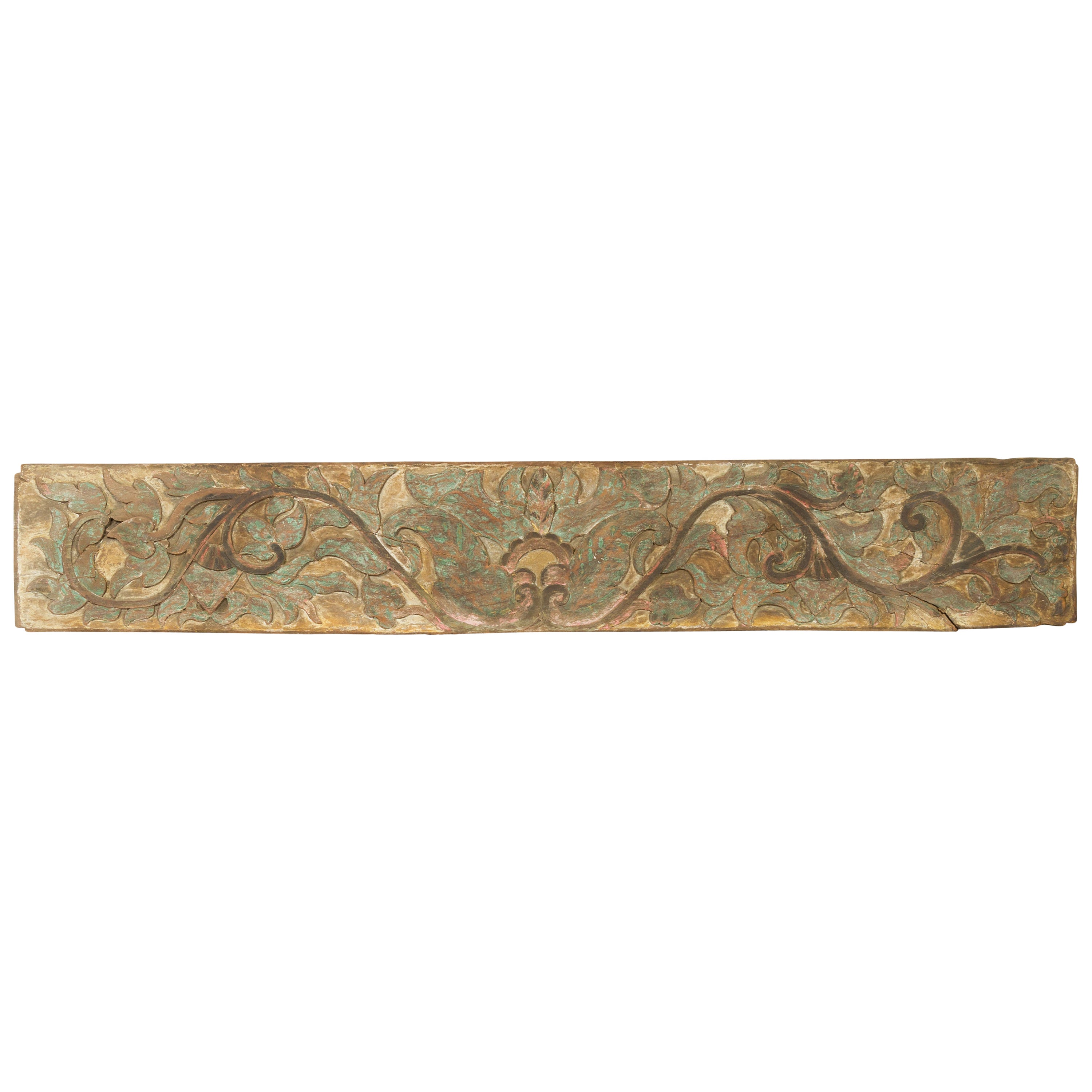 Antique Indonesian Painted and Carved Wood Door Panel with Scrolls and Foliage