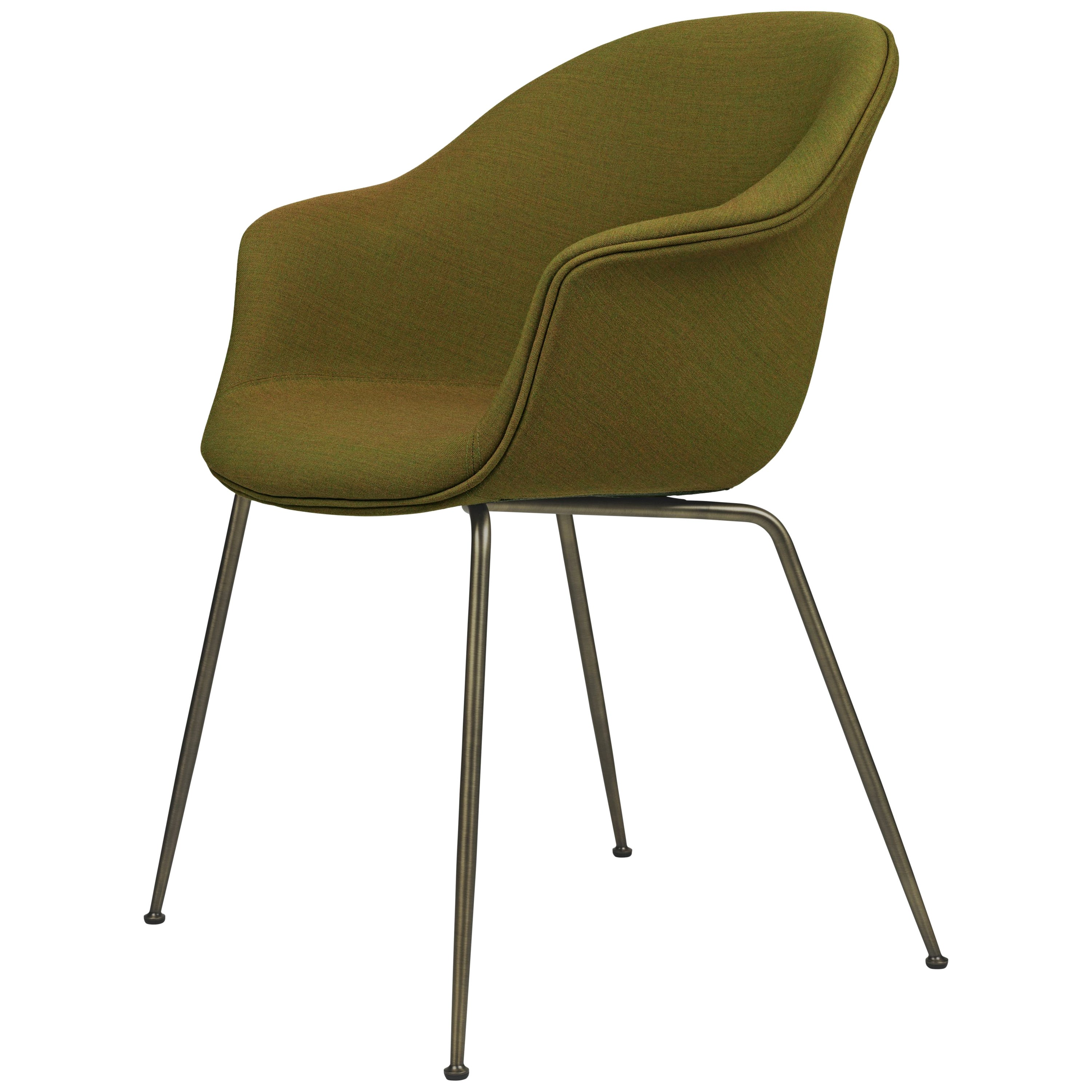 GamFratesi 'Bat' Dining Chair in Green with Antique Brass Conic Base