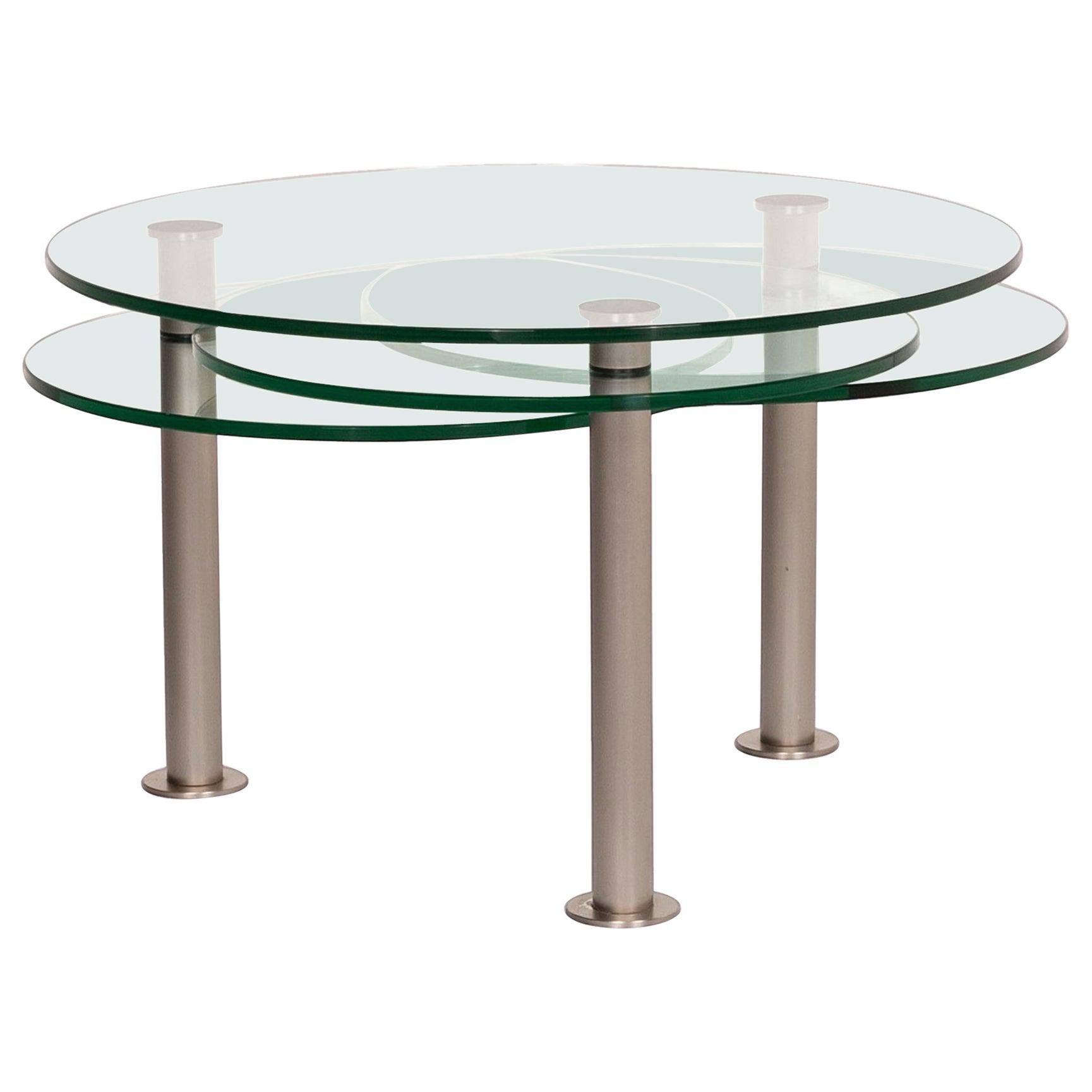 Draenert Intermezzo Glass Coffee Table Metal Adjustable Variable Table