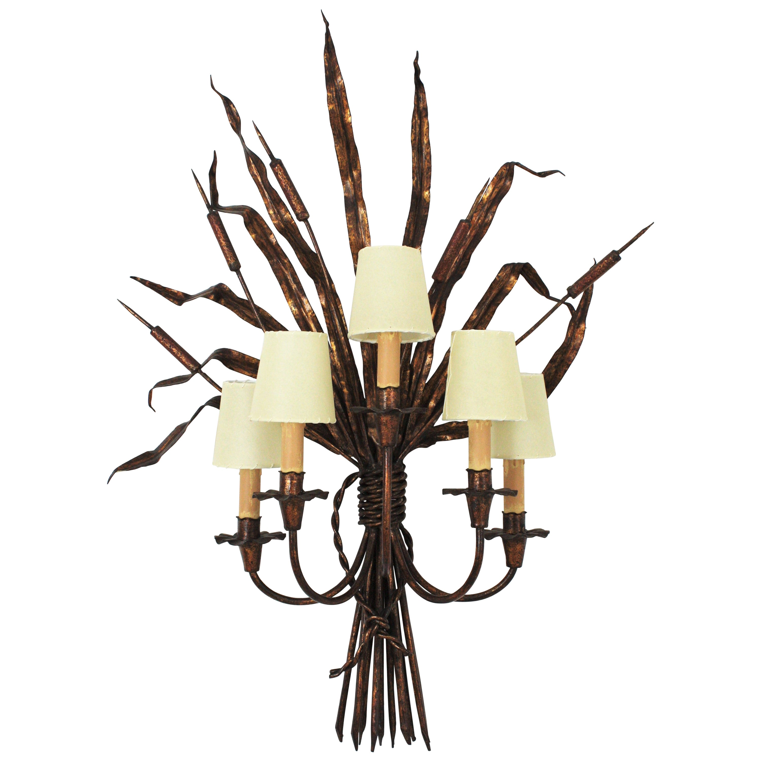 Maison Baguès Style Tole Reed Wall Light in Gilt Iron