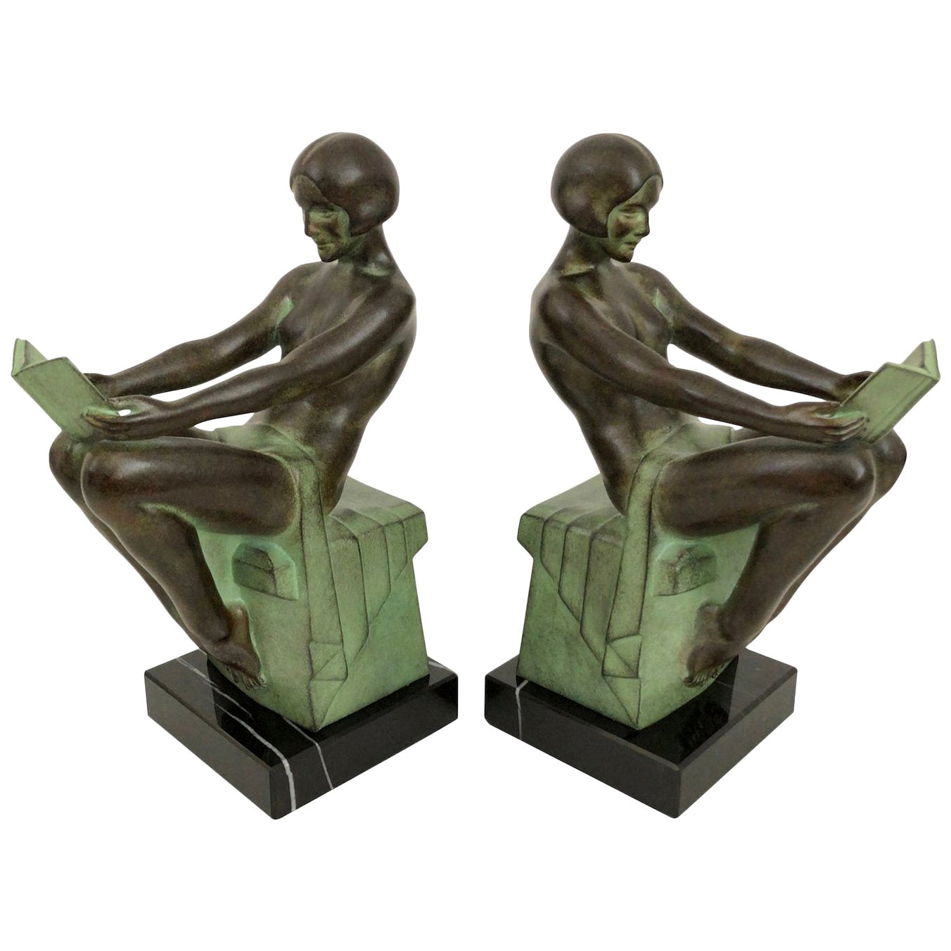 Delassement by Max Le Verrier Art Deco Style Bookends Sculptures Reading Ladies
