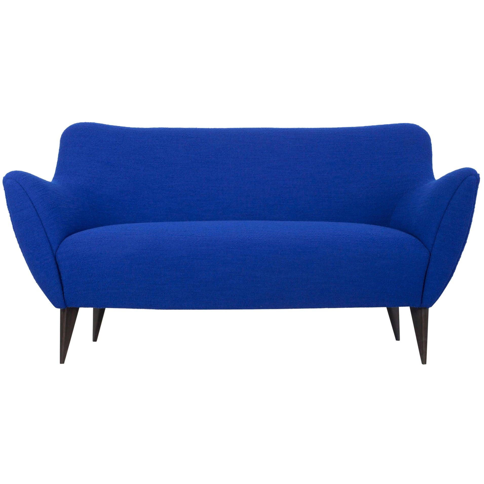 Blue Two-Seat Sofa, Design by Giulia Veronesi, ISA Bergamo, Italy, 1950s