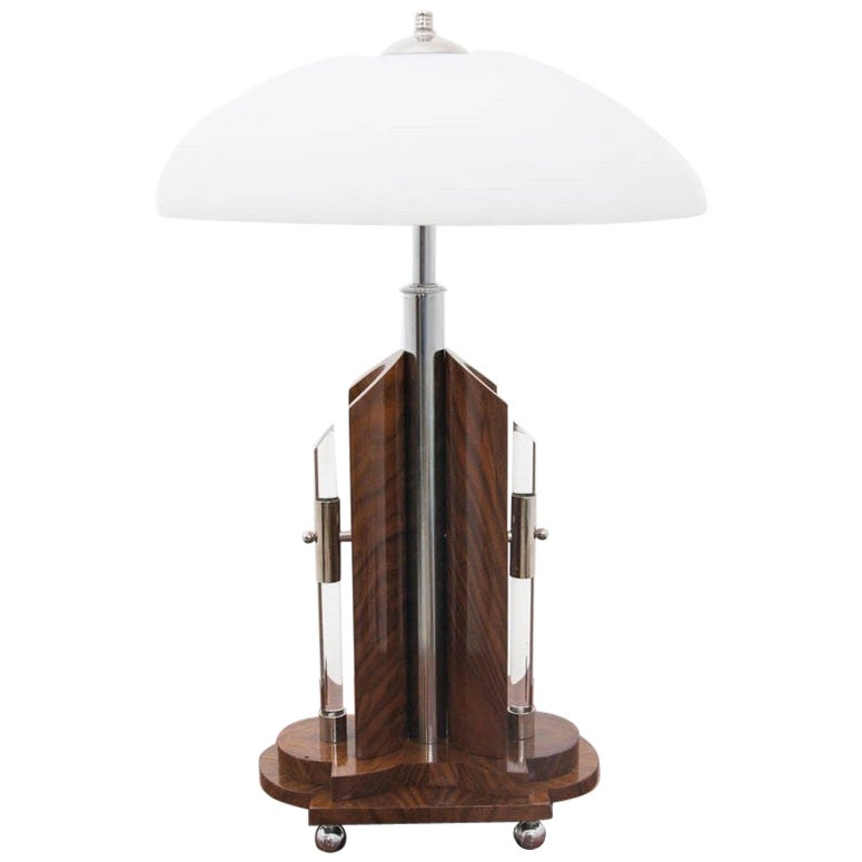 Art Deco Table Lamp with White Shade