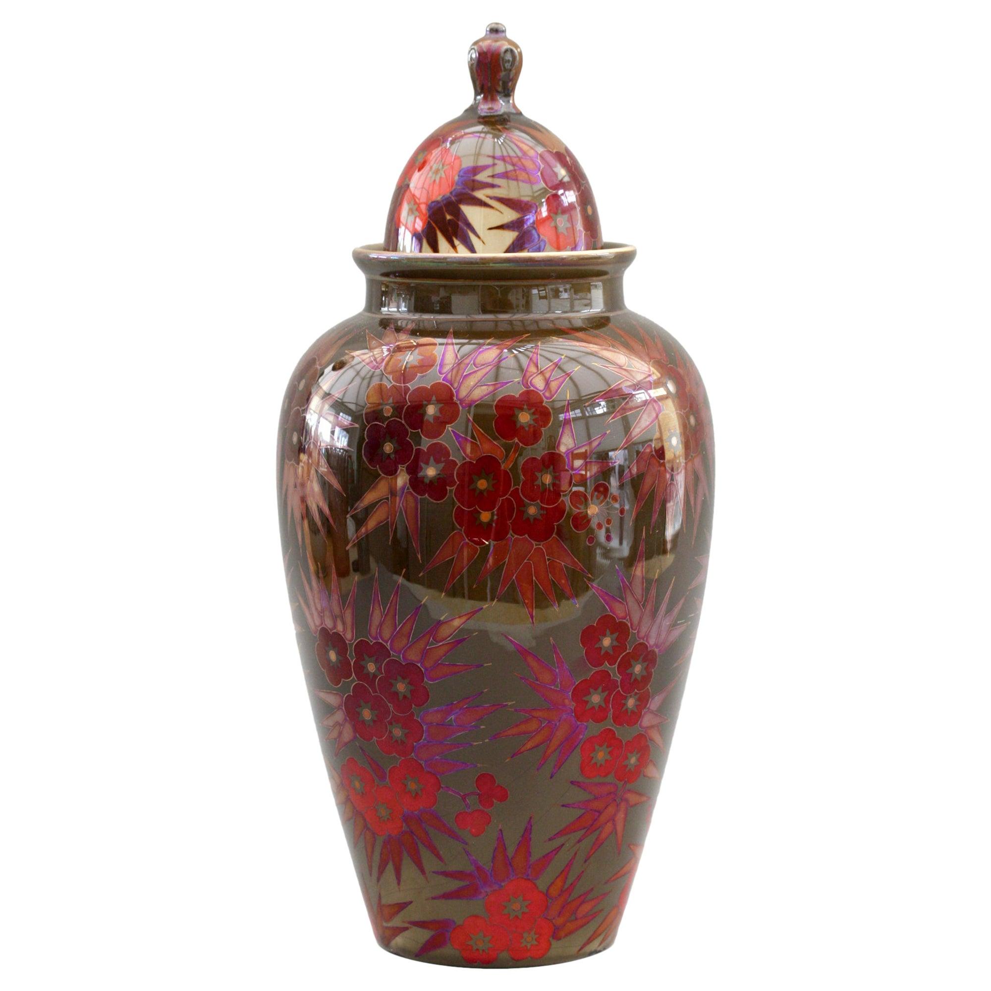 Zsolnay Pecs Art Deco Eosin Lustre Glazed Floral Decorated Lidded Vase