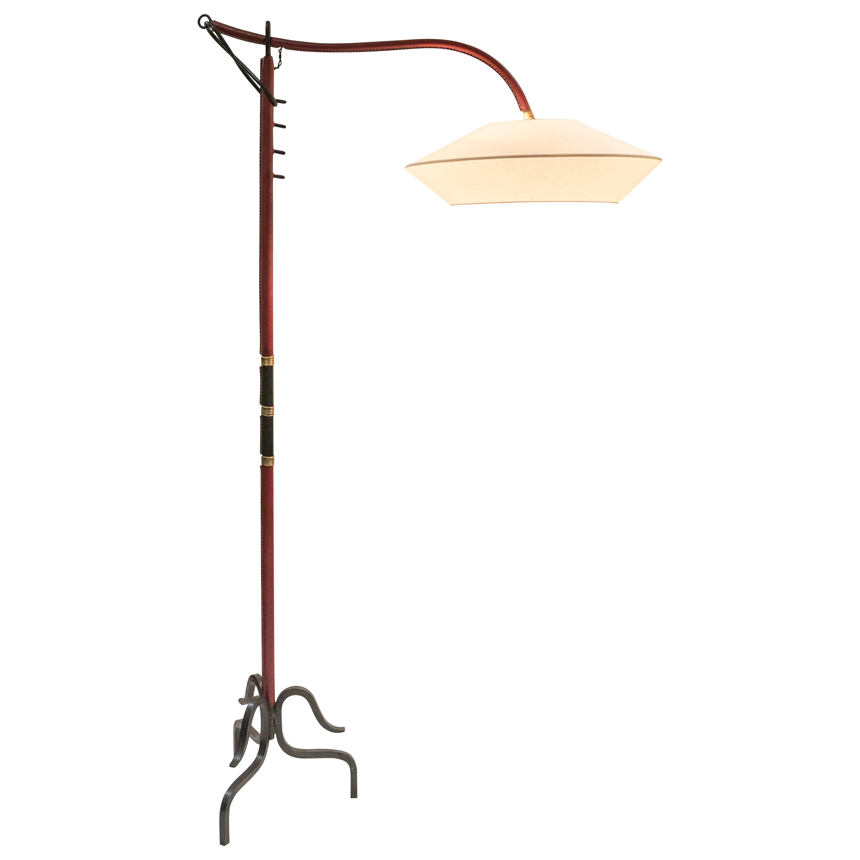 1950s Stitched Leather Floor Lamp by Jacques Adnet