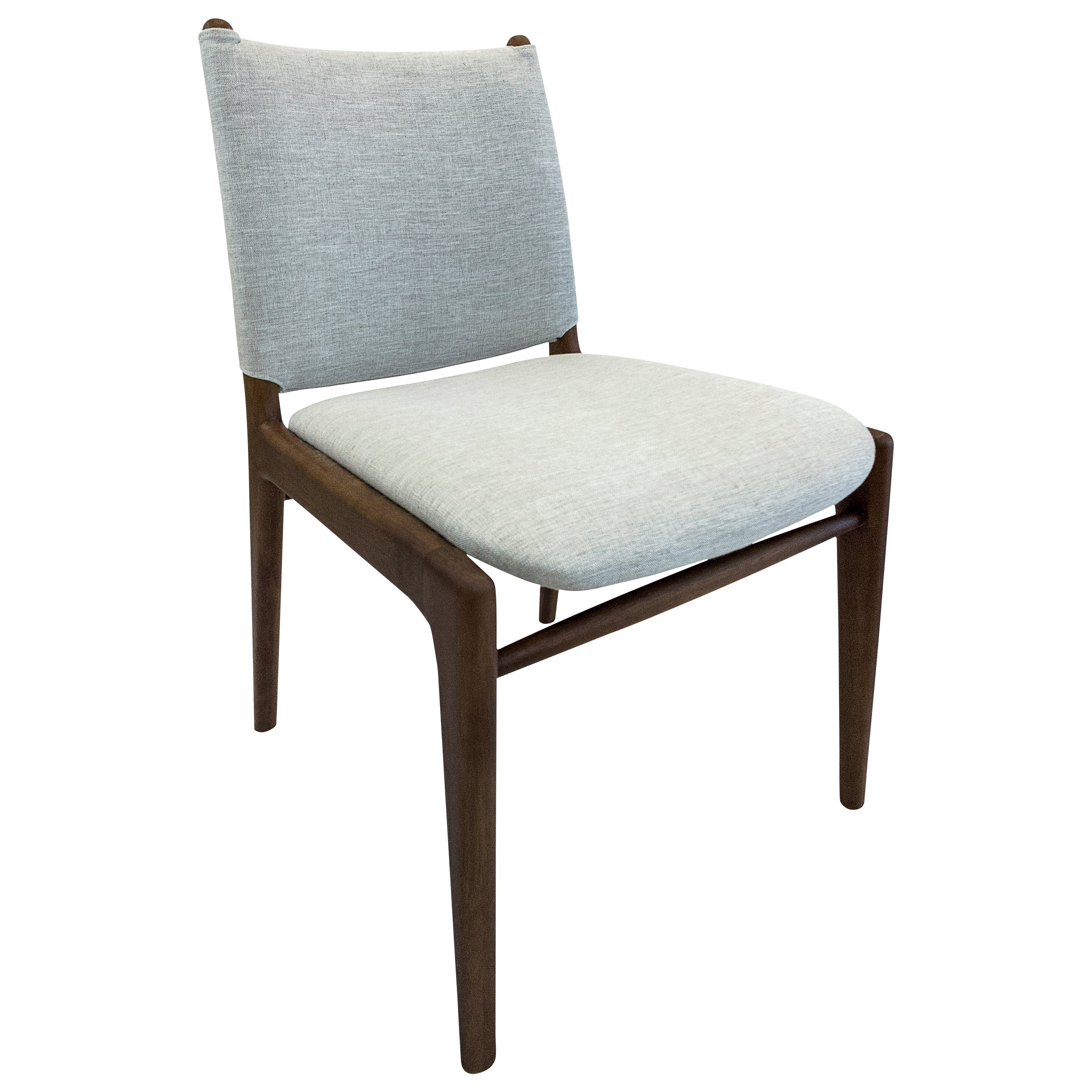 Cappio Dining Chair in Walnut Finish with Light Grey Fabric Seat and Seat Back