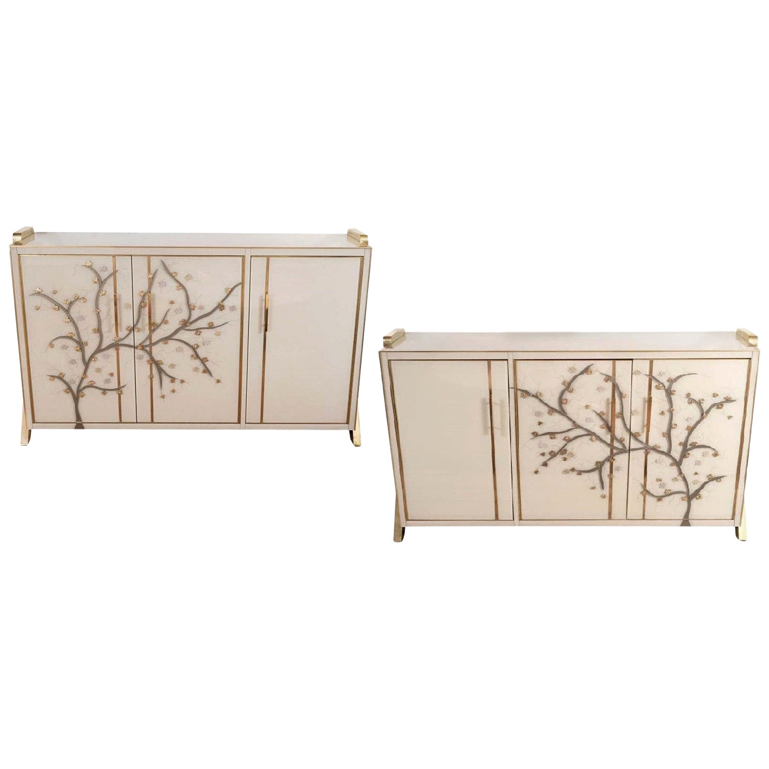"Pair of Brass and Ivory ""Flowering Branches"" Glass Sideboards, Italy"
