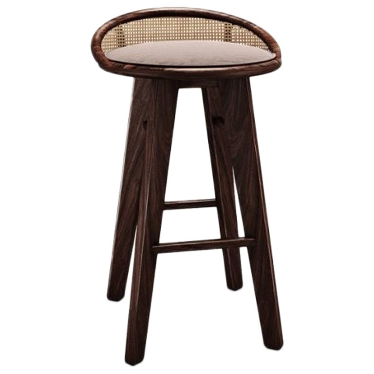 21st Century Brummell Bar Stool Walnut Wood