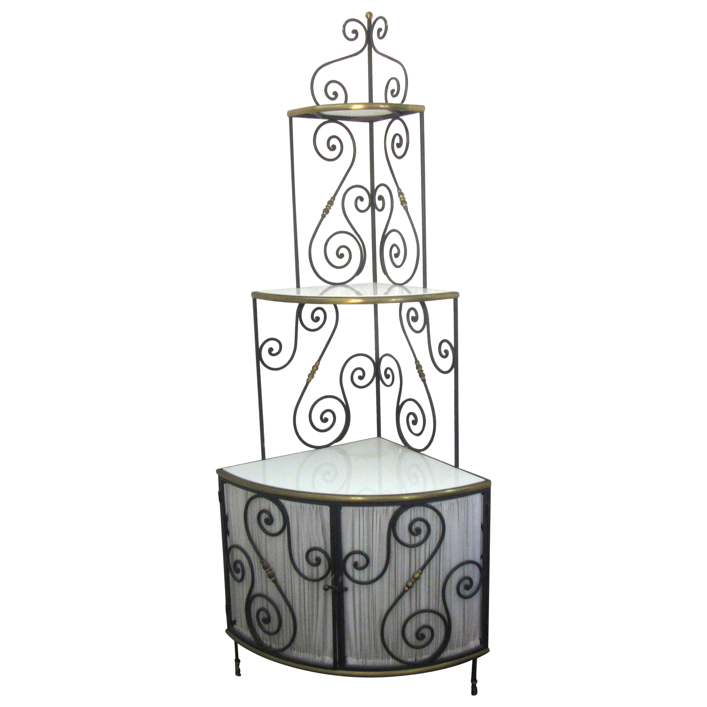 French Art Deco Corner Baker's Rack in Metal with Milk Glass Shelves