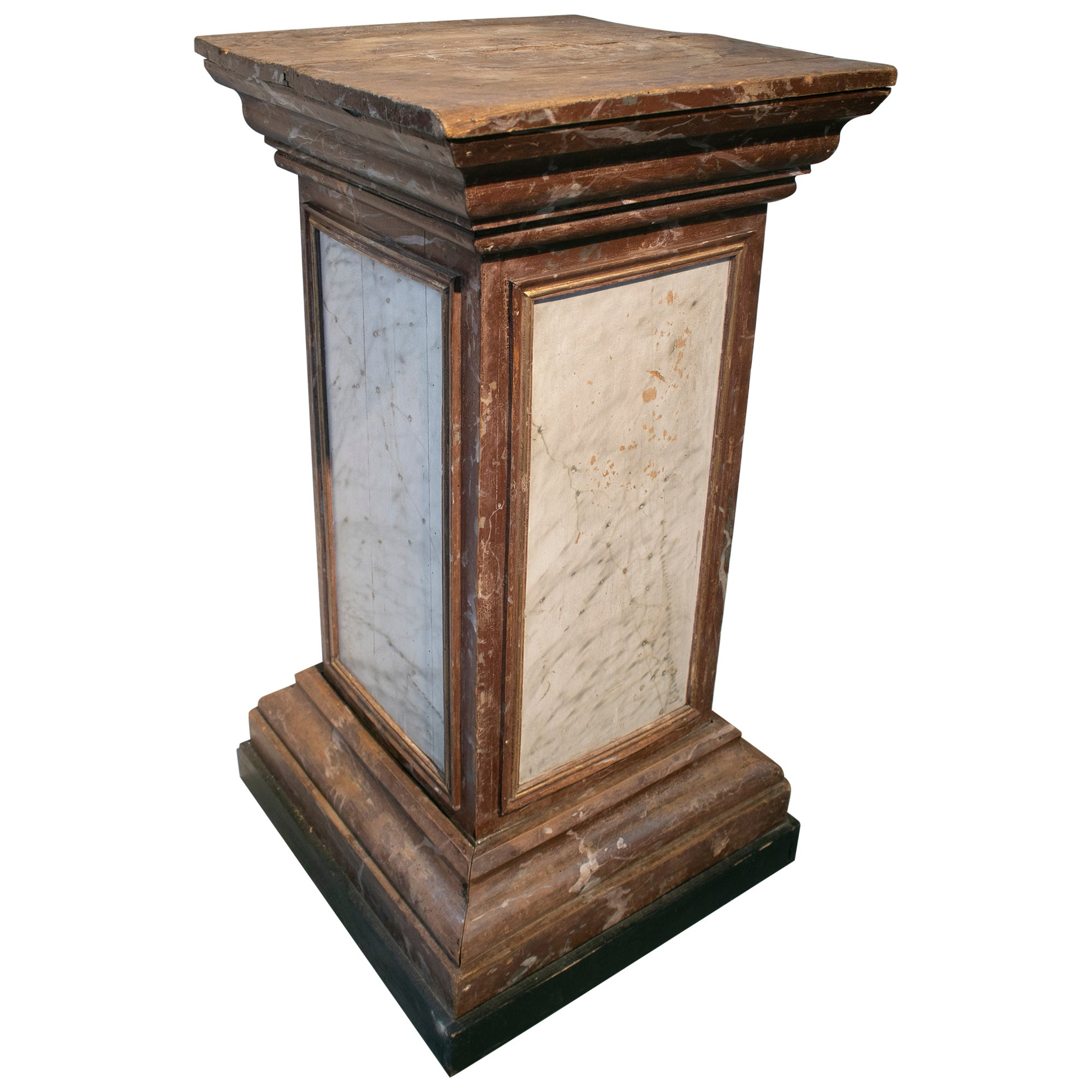 19th Century Spanish Wooden Pedestal Base Painted in Faux Marble