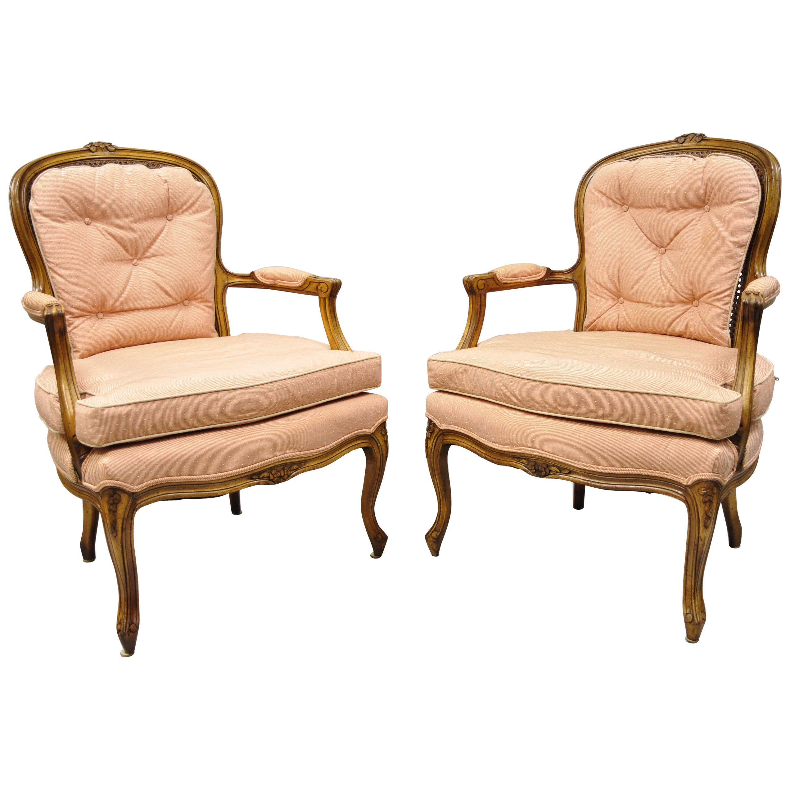 French Louis XV Provincial Style Carved Walnut Cane Back Armchairs, a Pair