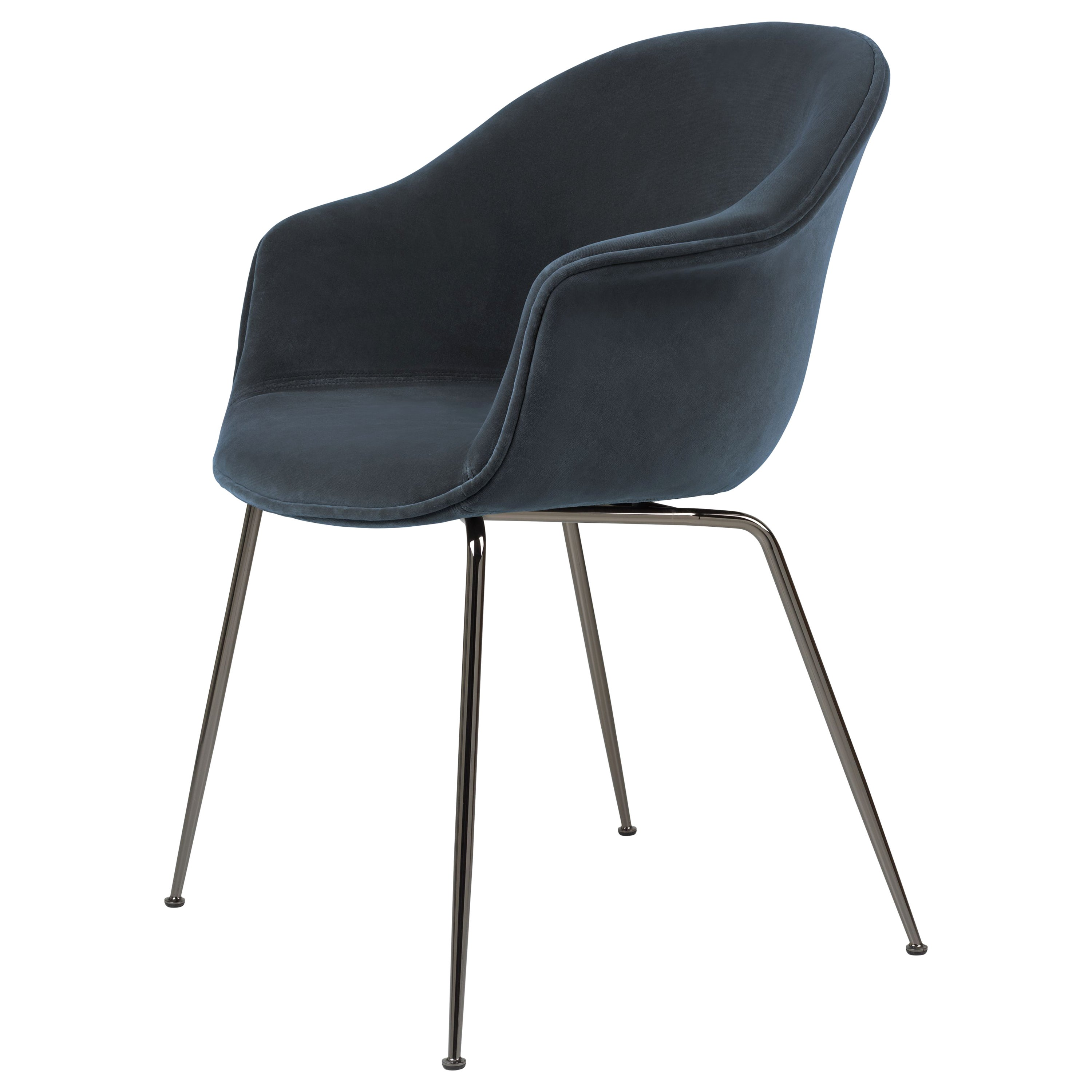 GamFratesi 'Bat' Dining Chair in Navy with Black Chrome Conic Base