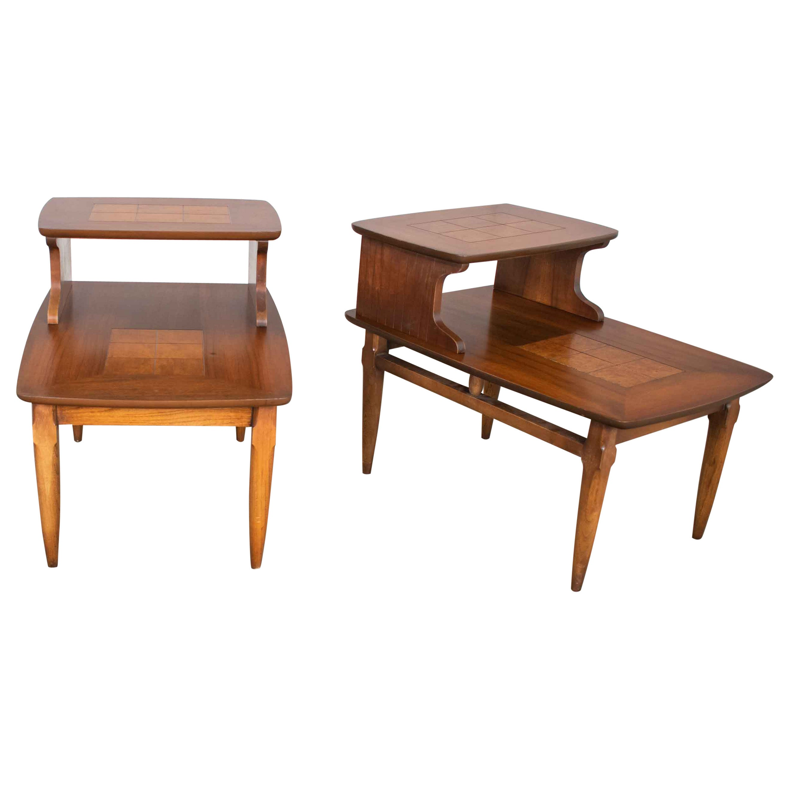 Mid-Century Modern Pair of Lane Step End Tables with Inlaid Walnut Burl Style