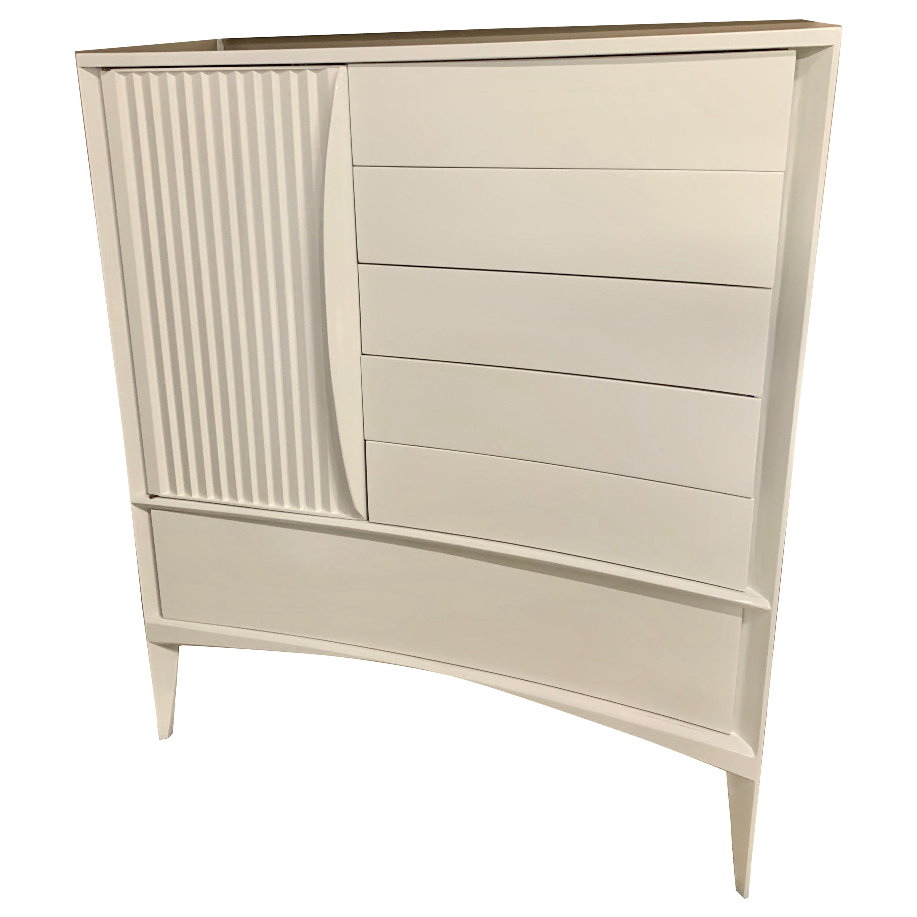 Midcentury Newly Brilliant White Lacquered Dresser Chest Highboy Cabinet