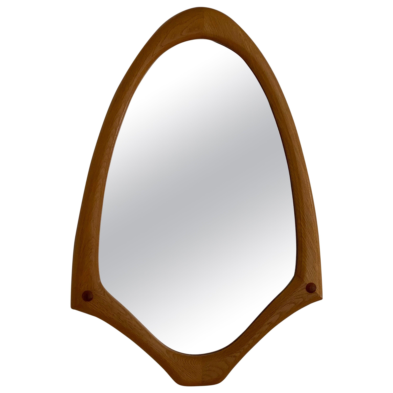 Swedish Designer, Sculptural Organic Wall Mirror, Oak, Glass, 1950s