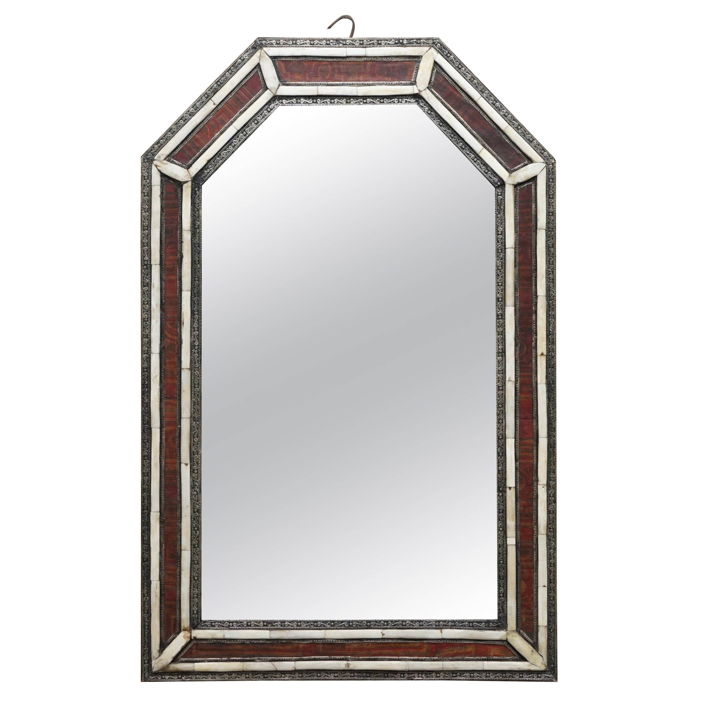 Lovely Ornate circa 19th Century Morrish Silver & Bone Inlaid Large Wall Mirror