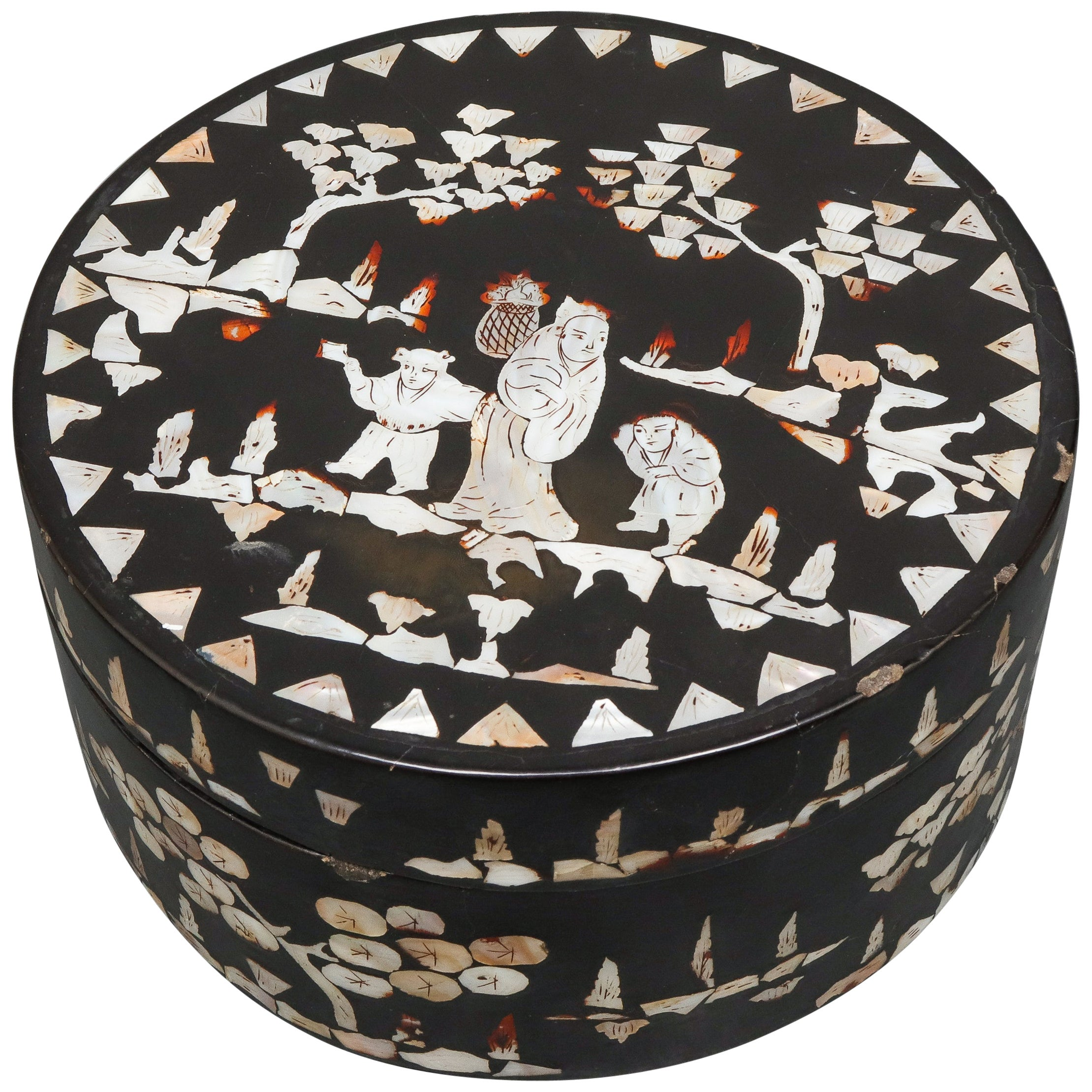 Chinese Mother of Pearl Inlaid Lacquered Box