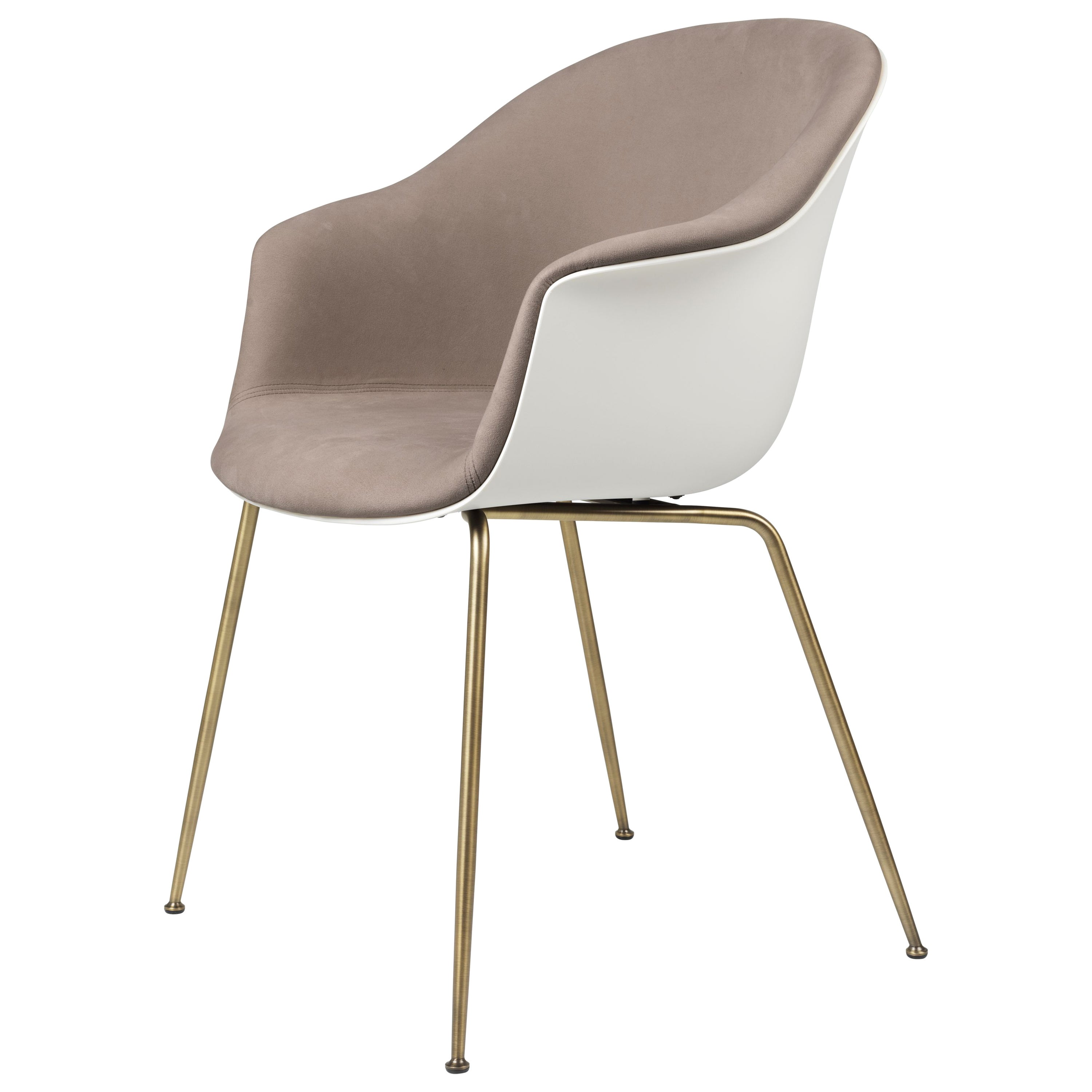 GamFratesi 'Bat' Dining Chair in Brown and White with Antique Brass Conic Base