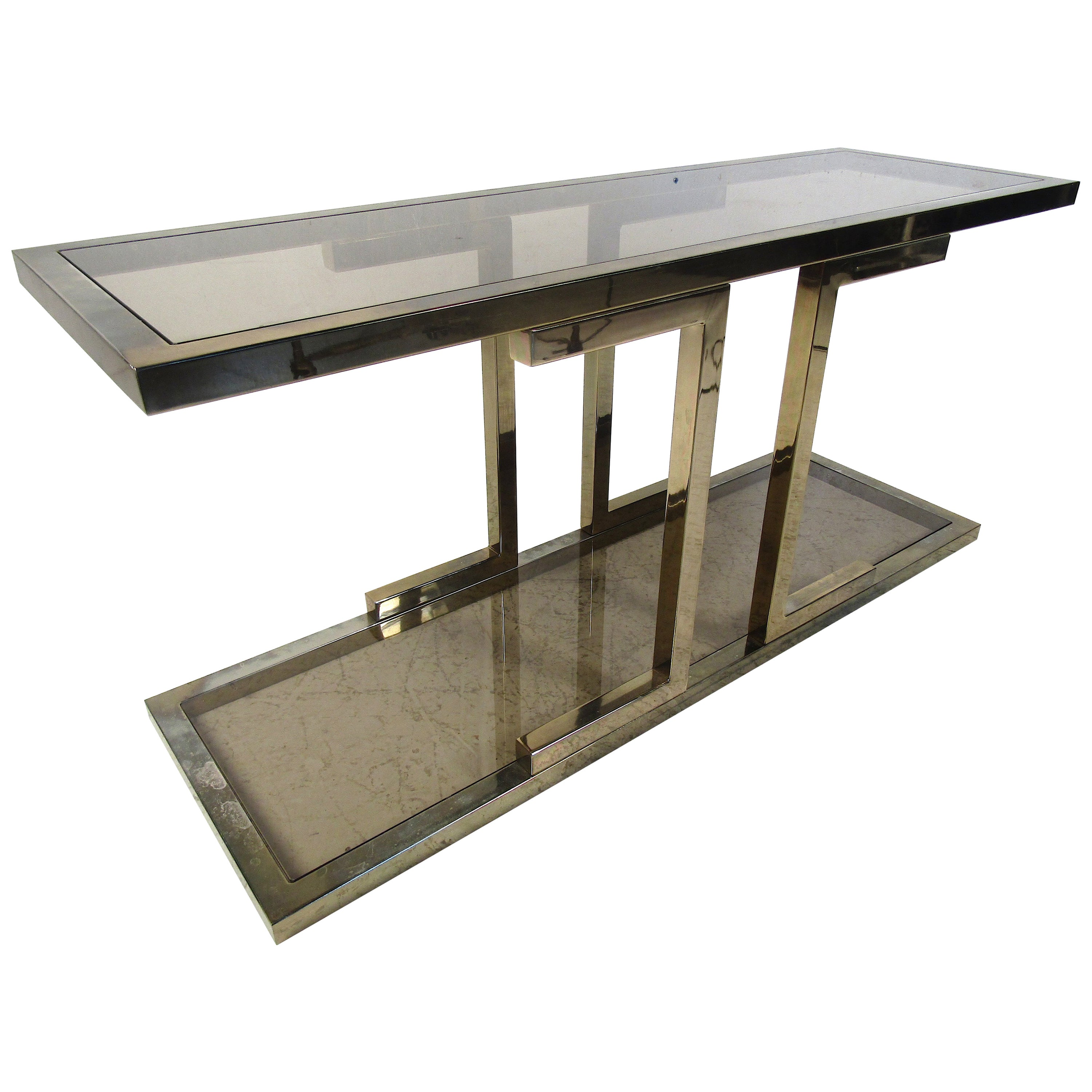 Vintage Brass Console Table with Smoked Glass