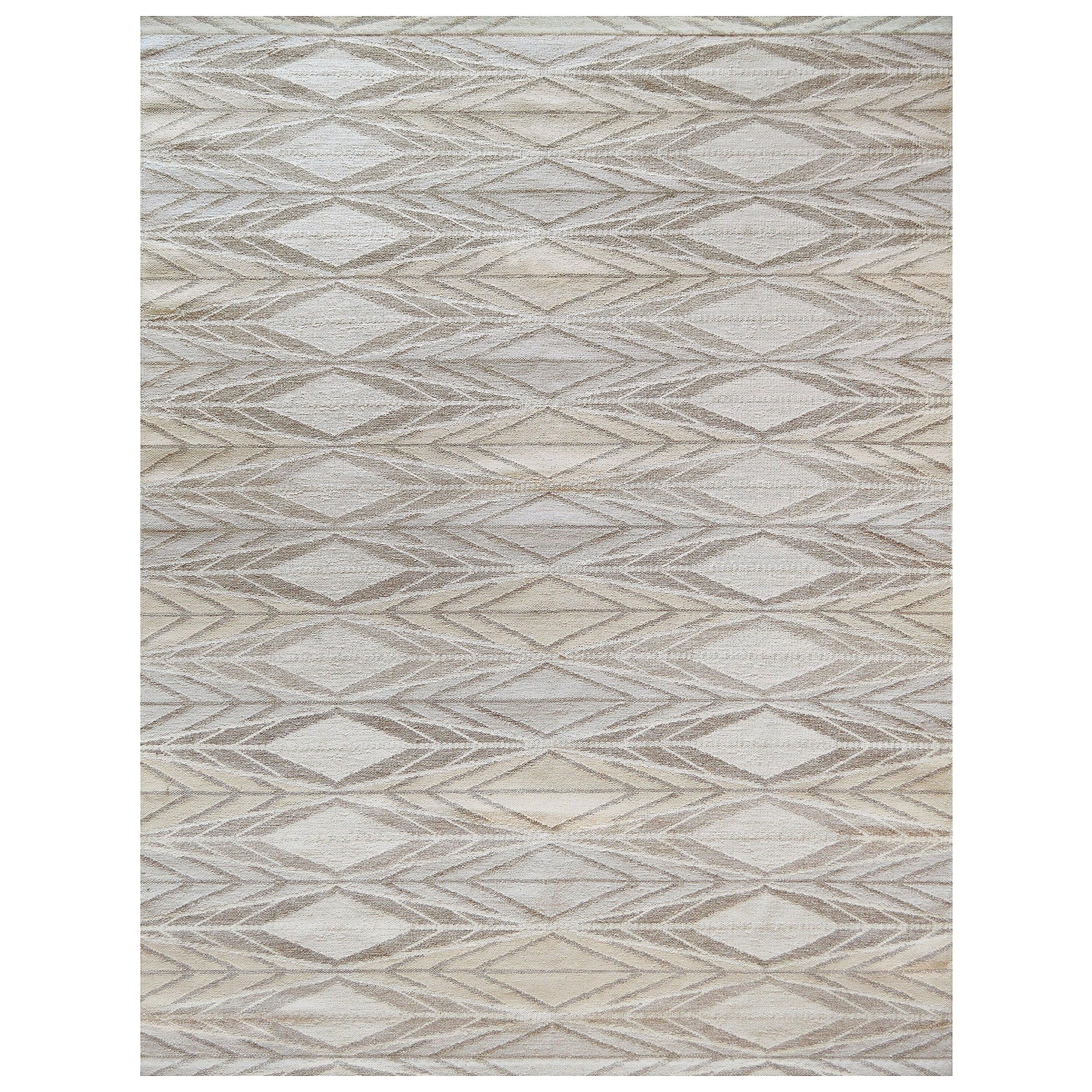 Handwoven Swedish Kilim Inspired Wool Rug